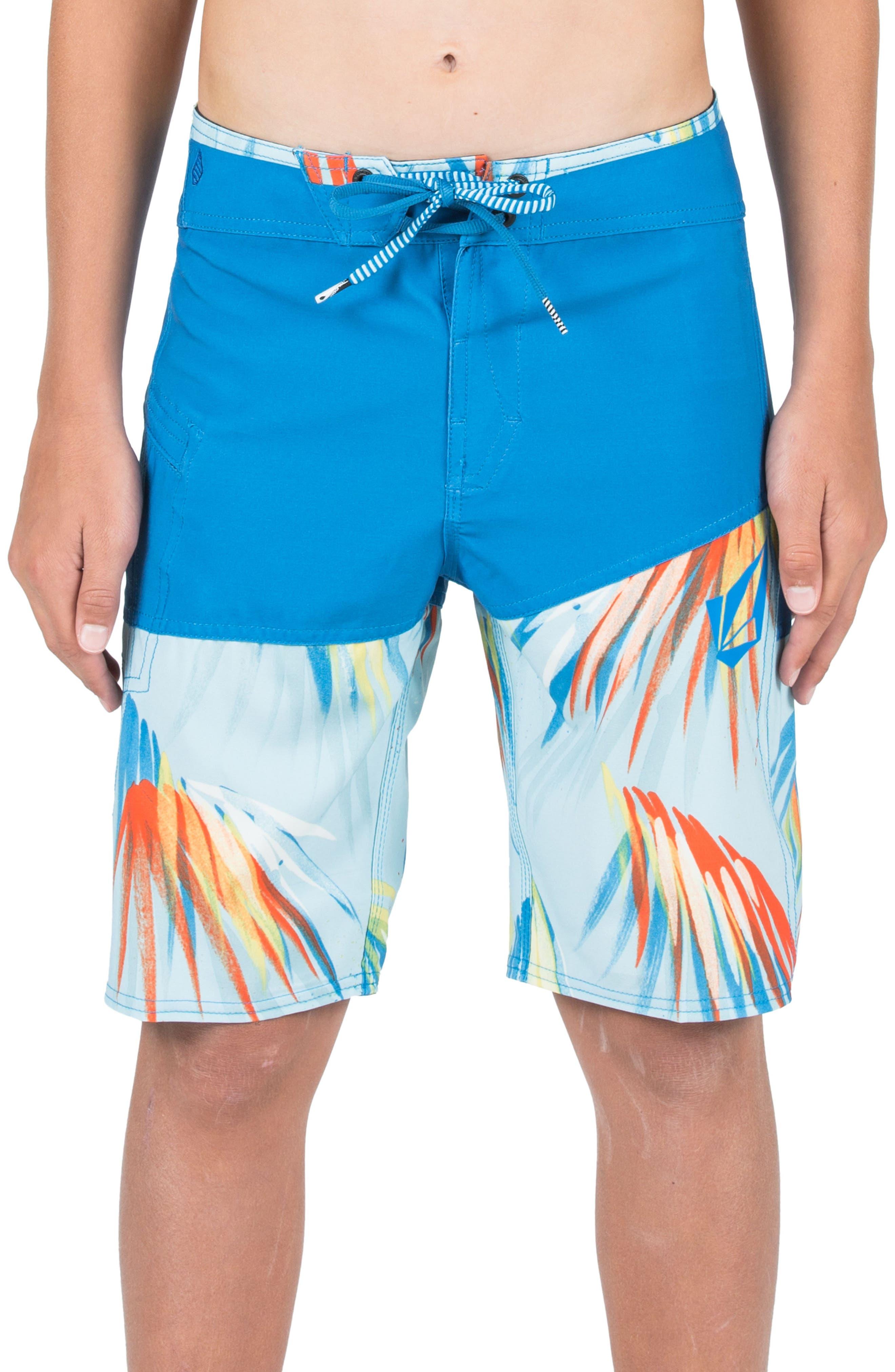 Asymmetrical Mod Board Shorts,                         Main,                         color, Cloud Blue