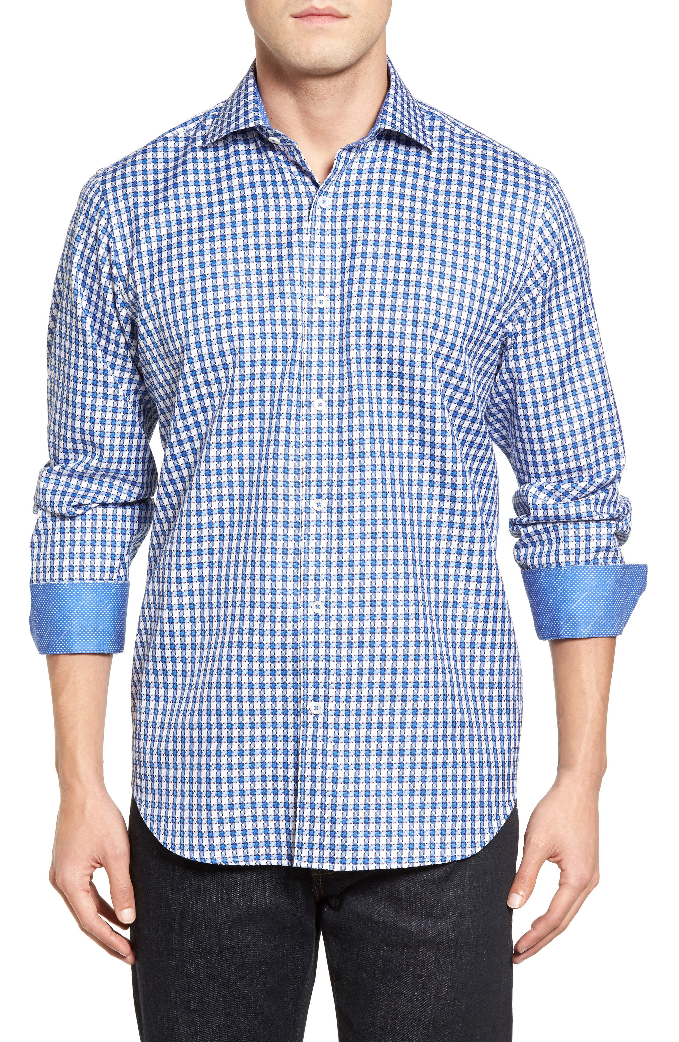 Classic Fit Check Sport Shirt,                             Main thumbnail 1, color,                             Classic Blue