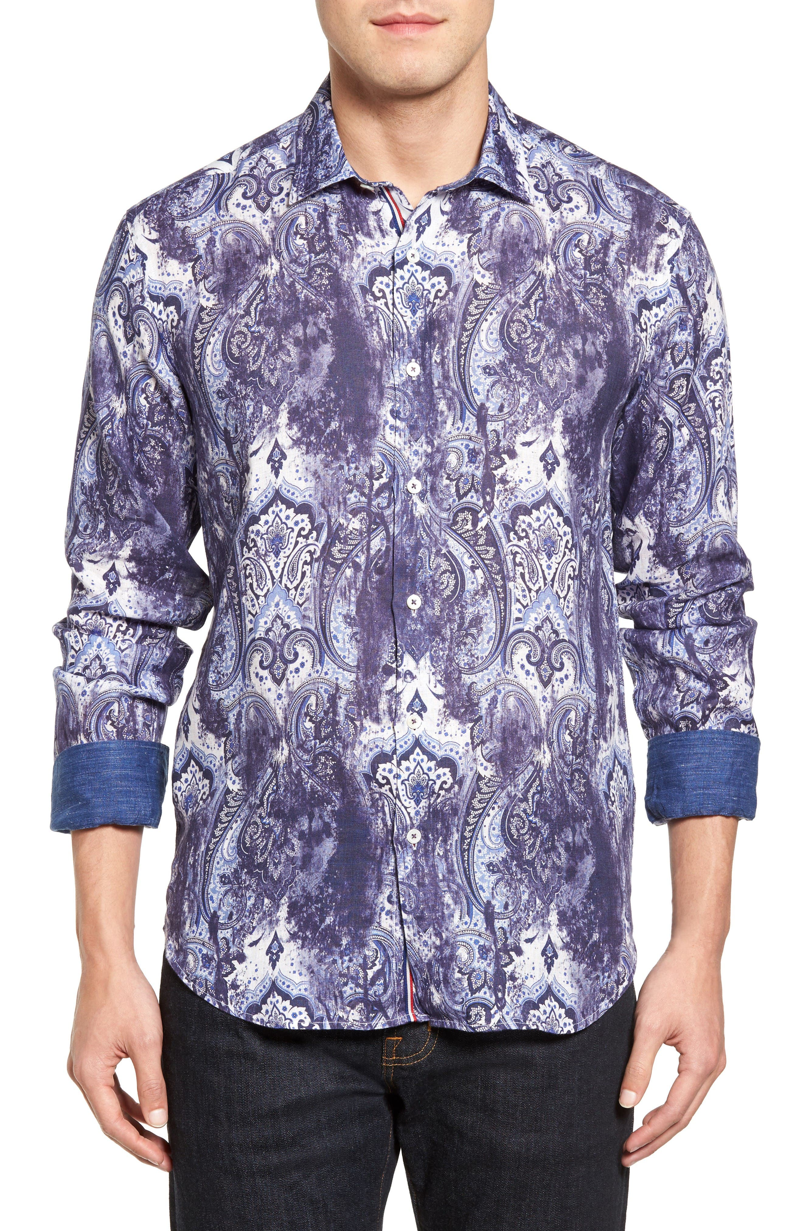 Alternate Image 1 Selected - Bugatchi Shaped Fit Paisley Print Linen Sport Shirt