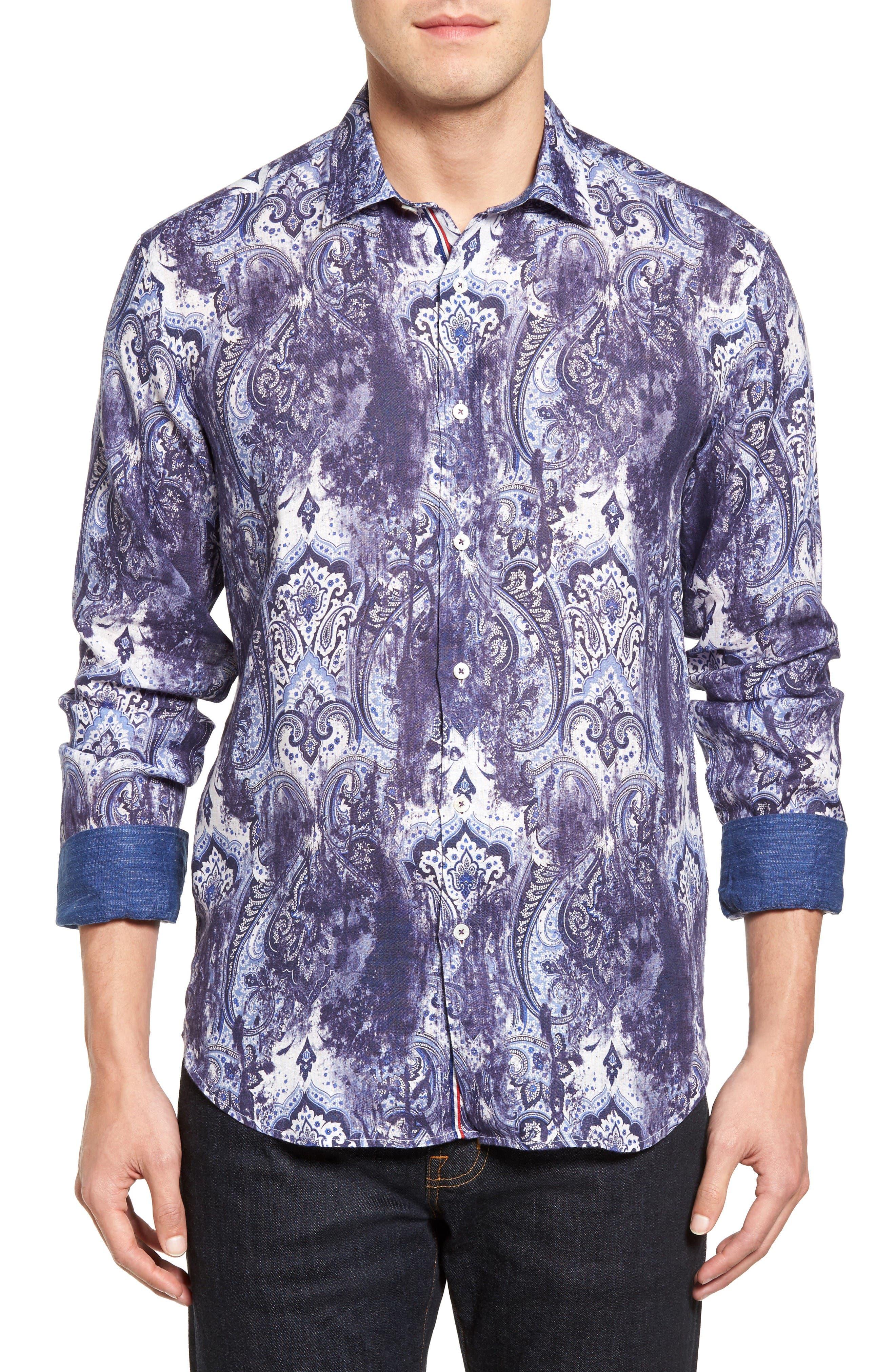 Main Image - Bugatchi Shaped Fit Paisley Print Linen Sport Shirt