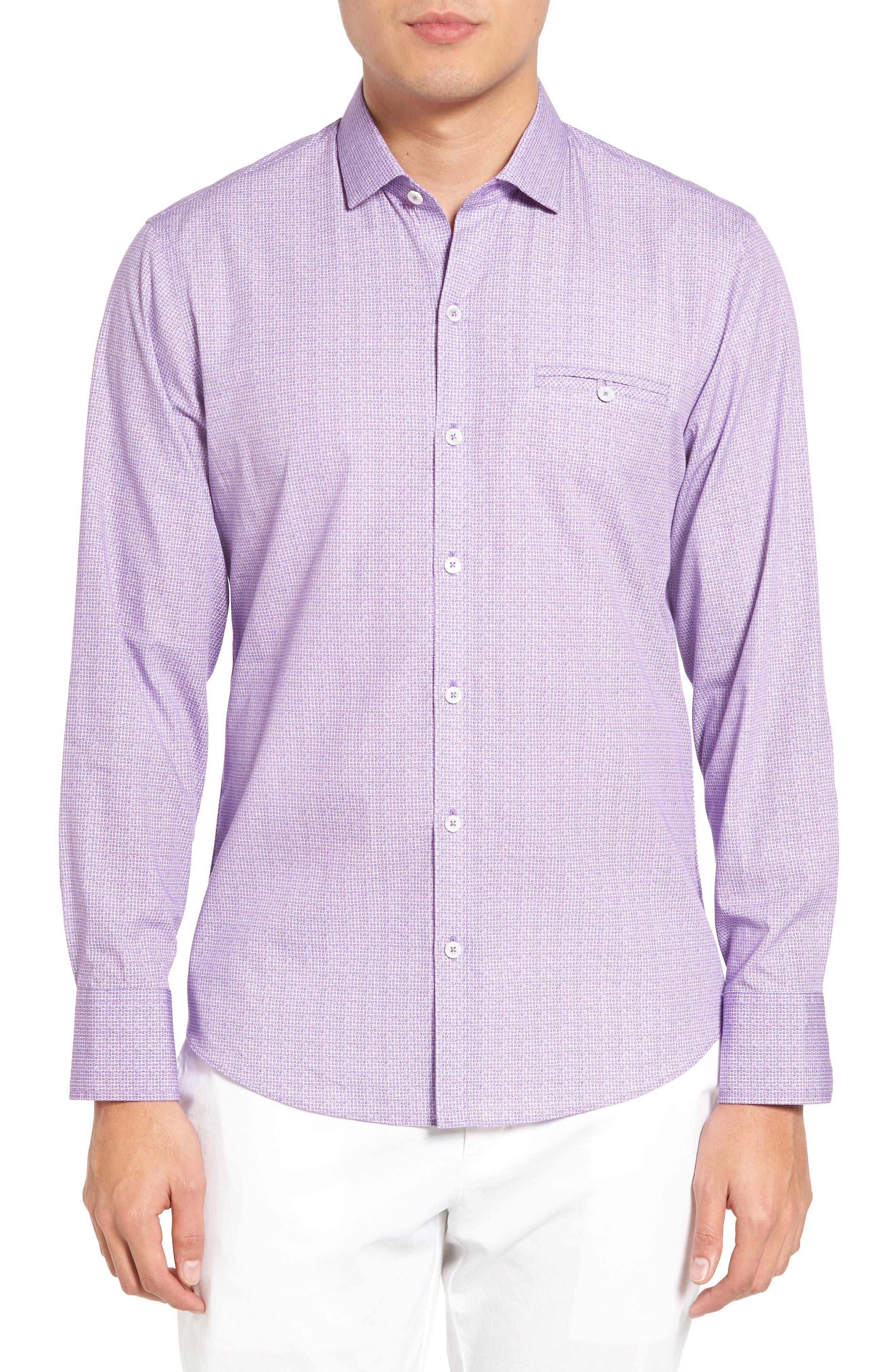 McDesmond Trim Fit Print Sport Shirt,                         Main,                         color, Light Purple