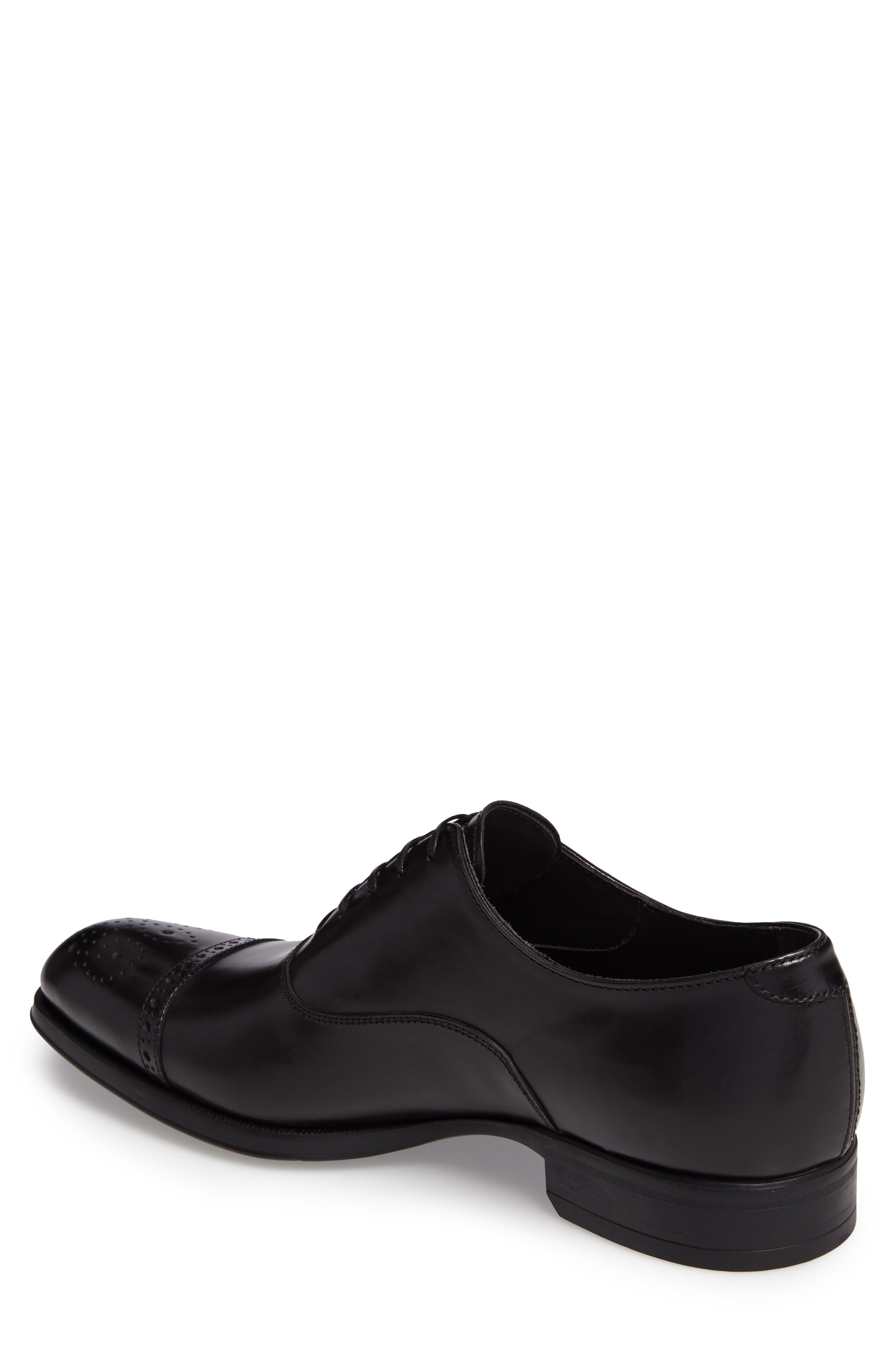 'Justin' Cap Toe Oxford,                             Alternate thumbnail 2, color,                             Black Leather