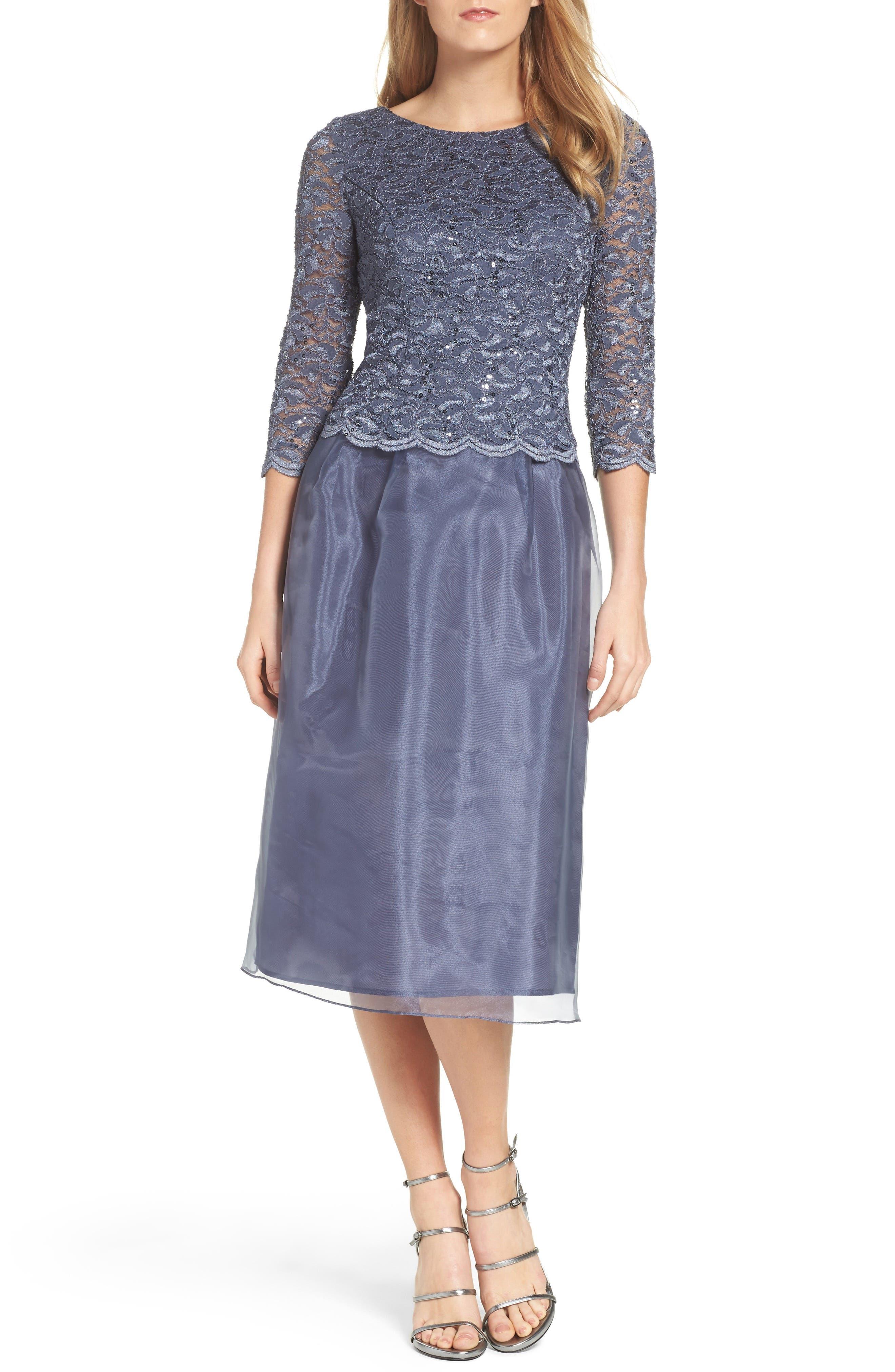 Alternate Image 1 Selected - Alex Evenings Mixed Media Fit & Flare Dress (Regular & Petite)