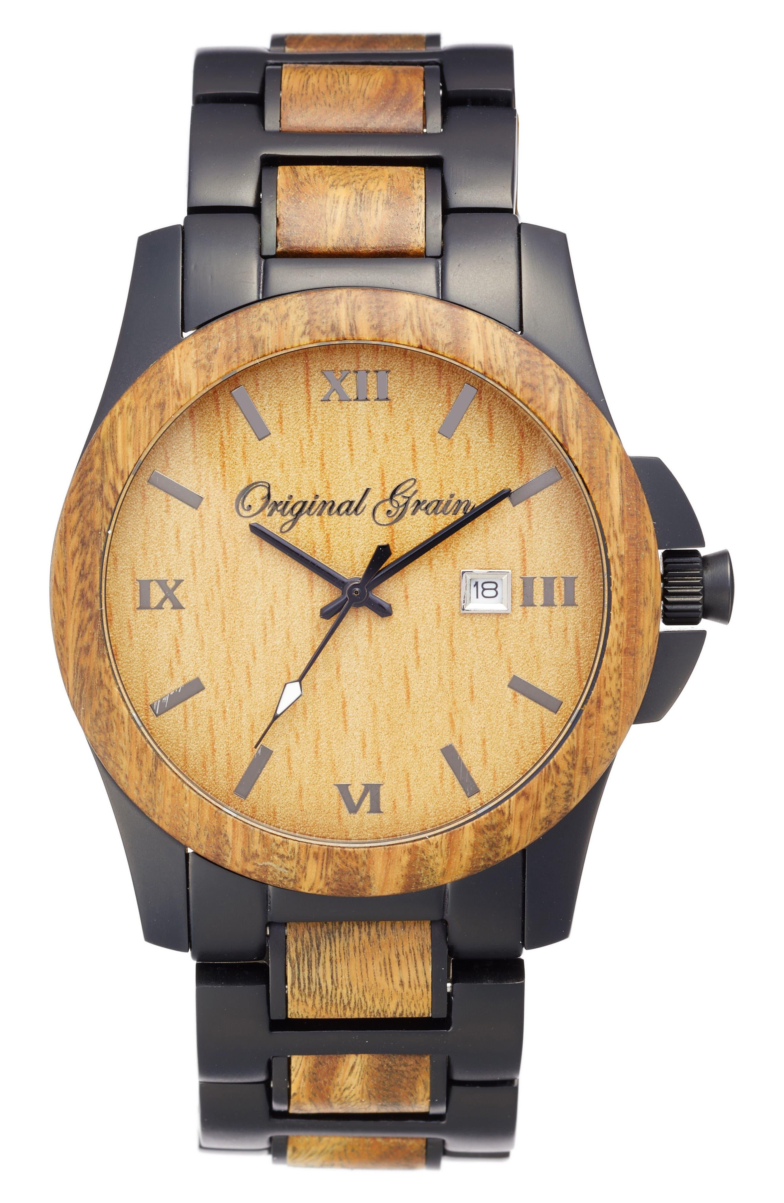 The Classic Bracelet Watch, 43mm,                             Main thumbnail 1, color,                             Vera Wood/ Matte Black