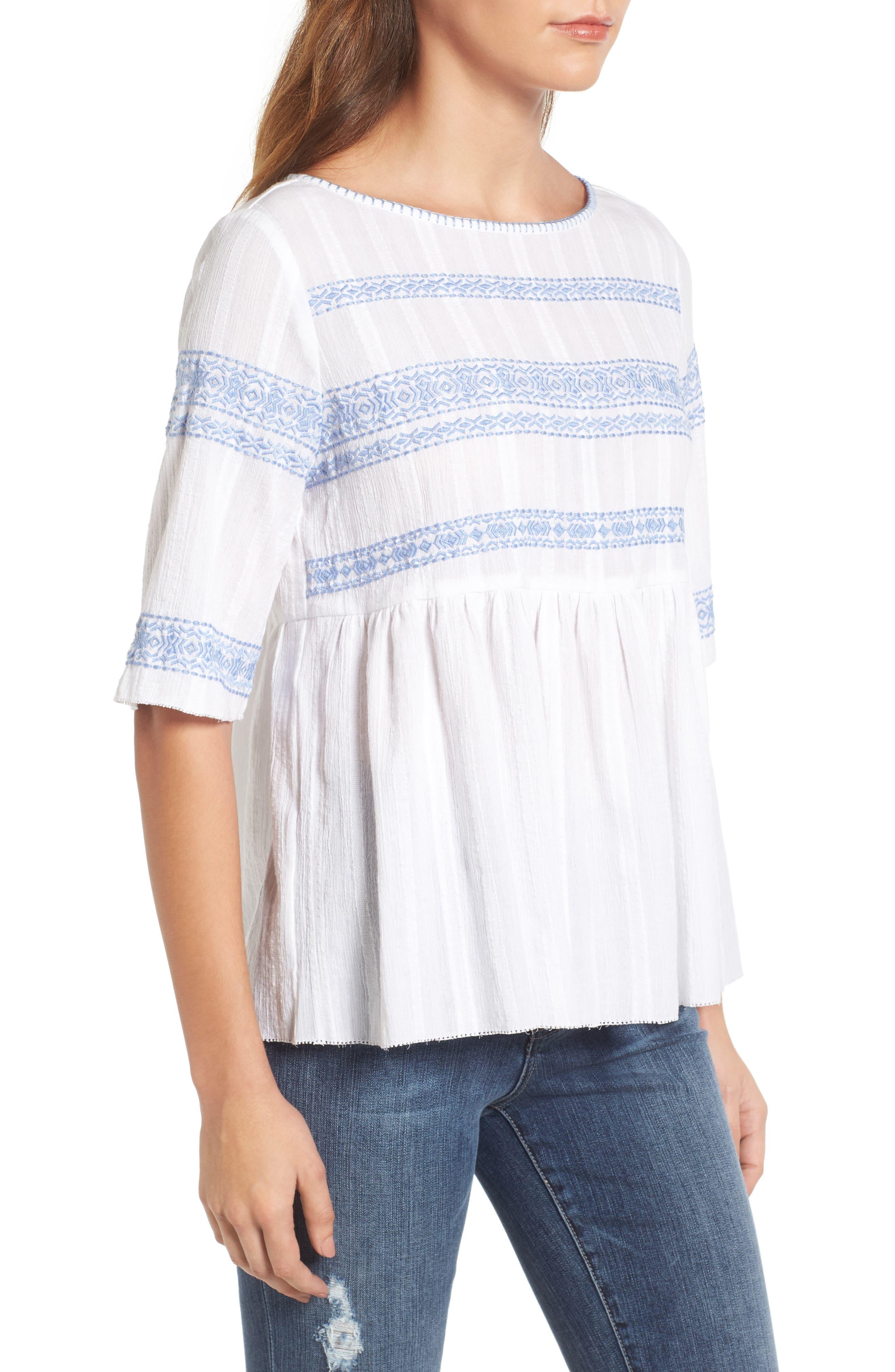 Alternate Image 3  - Caslon® Embroidered Babydoll Top (Regular & Petite)