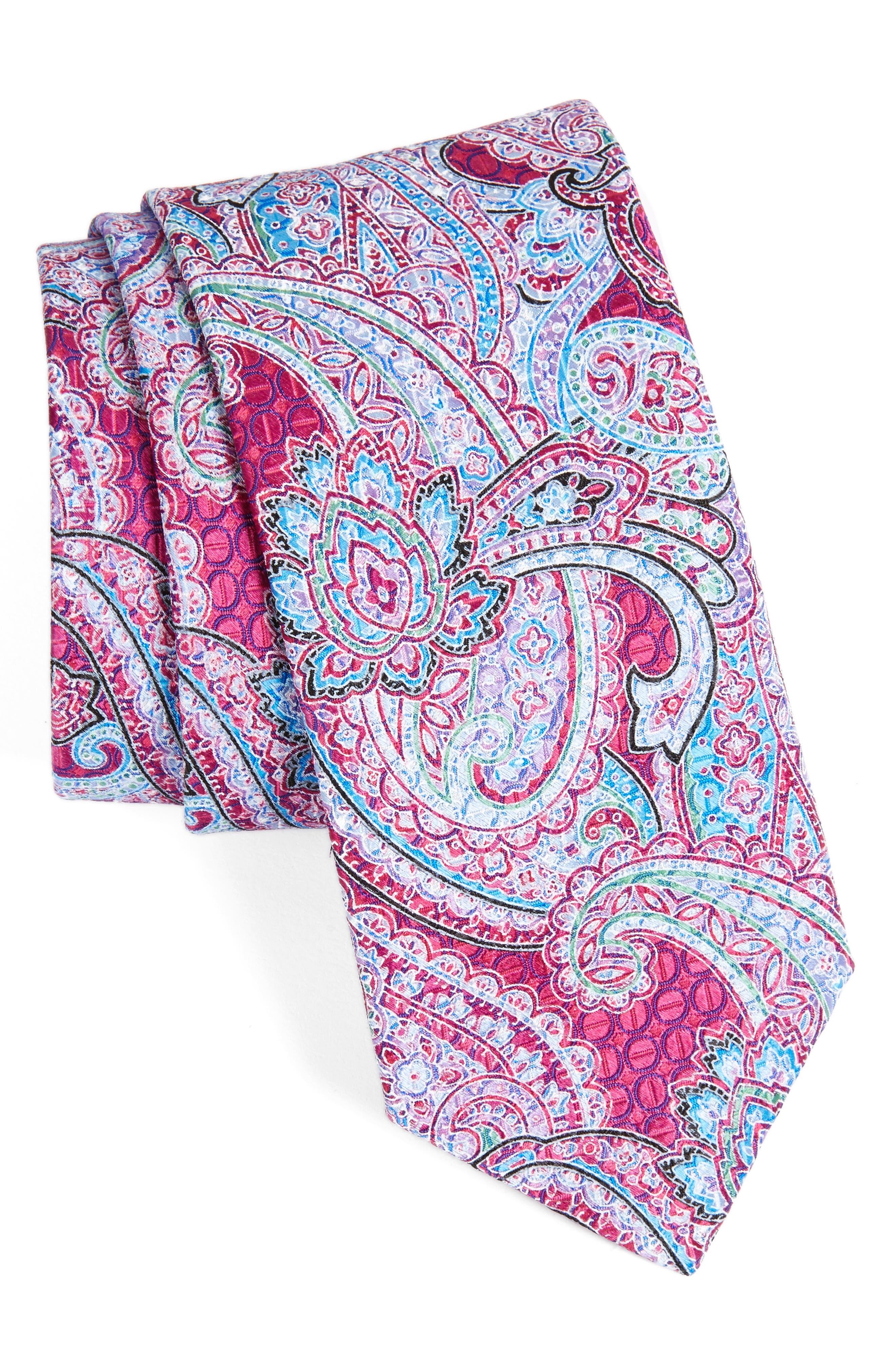 Paisley Silk Tie,                             Main thumbnail 1, color,                             Magenta