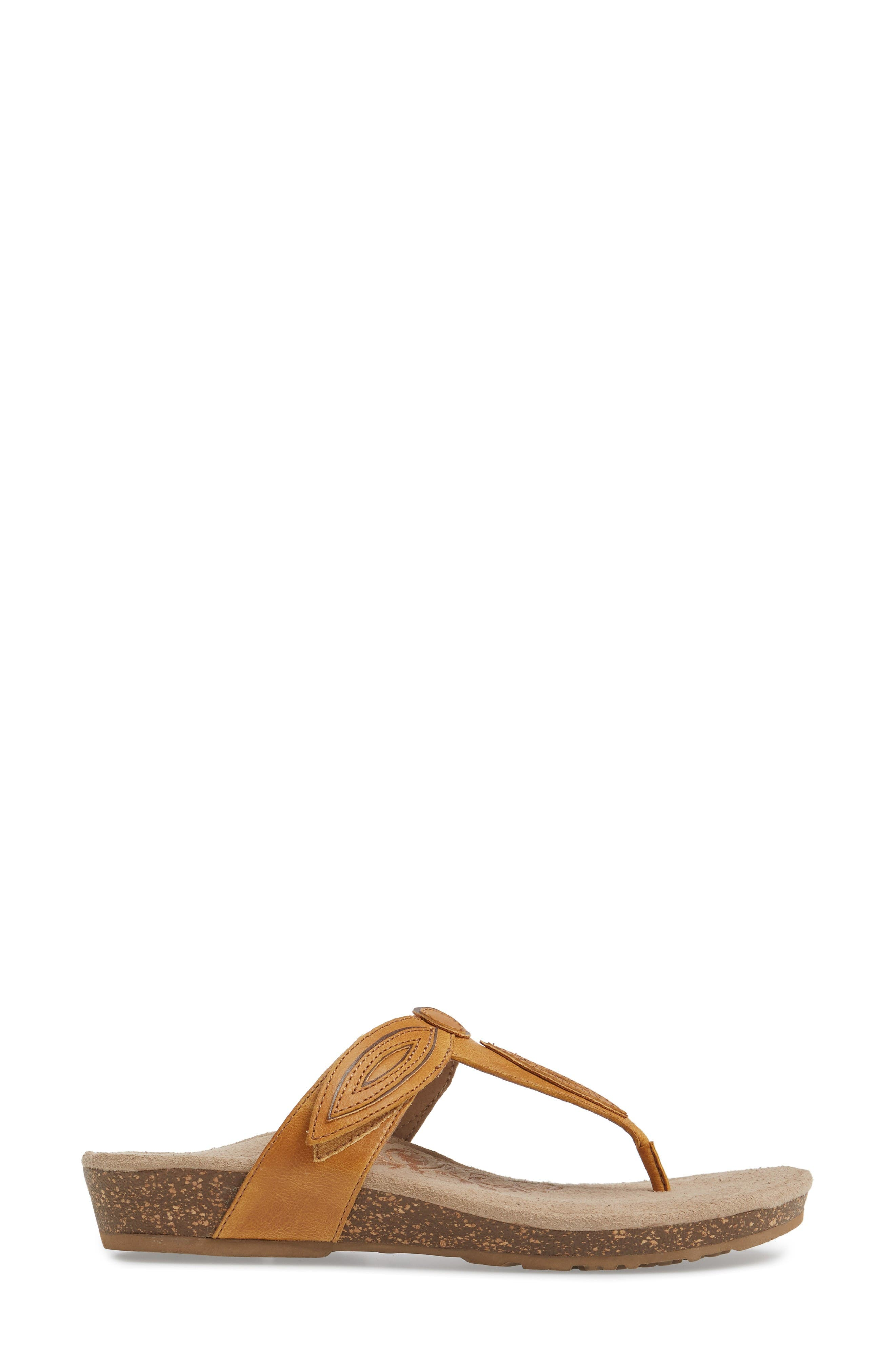 'Terri' Flip Flop,                             Alternate thumbnail 3, color,                             Mustard Leather