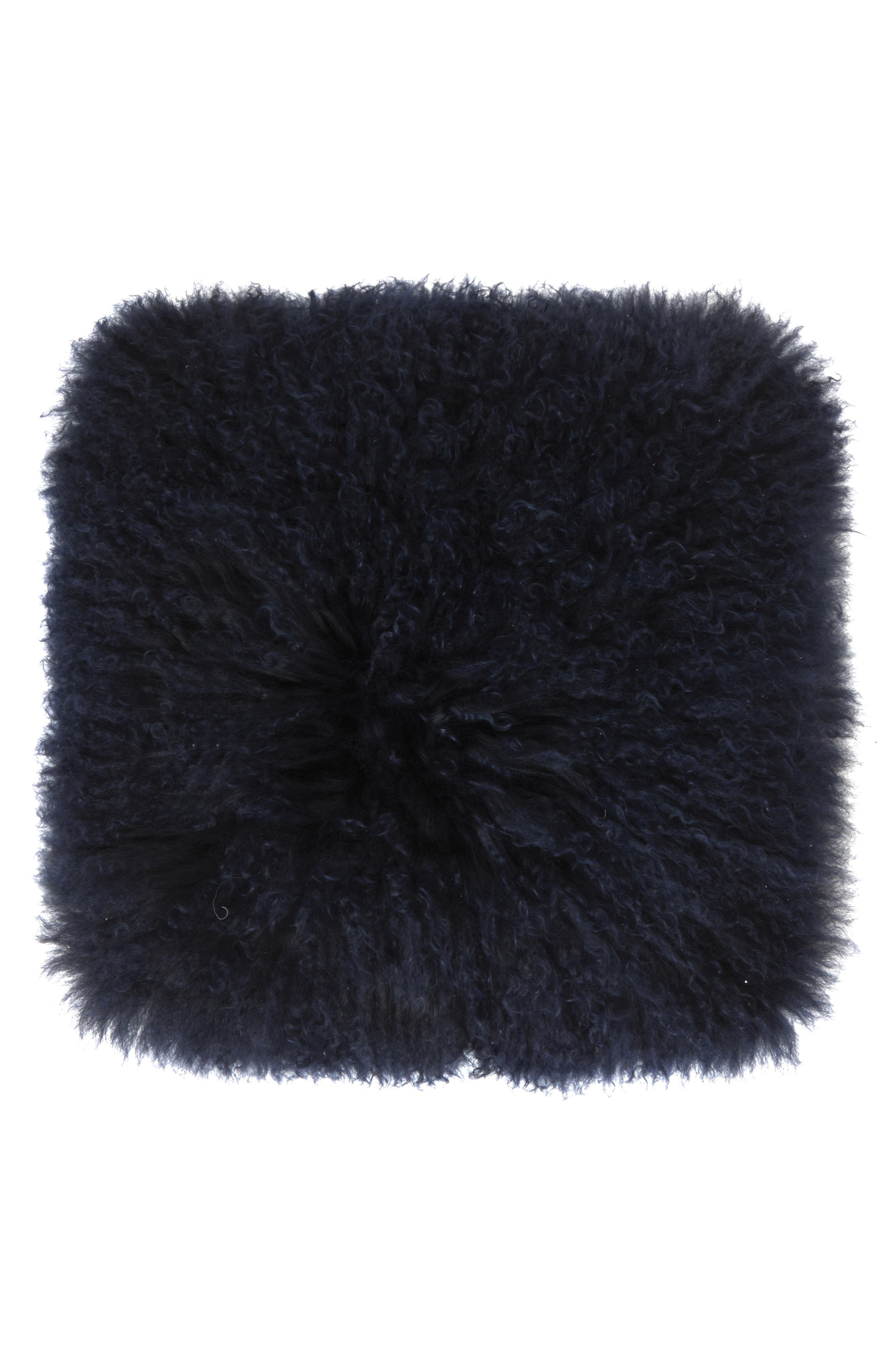 Genuine Shearling Accent Pillow,                             Main thumbnail 1, color,                             Navy
