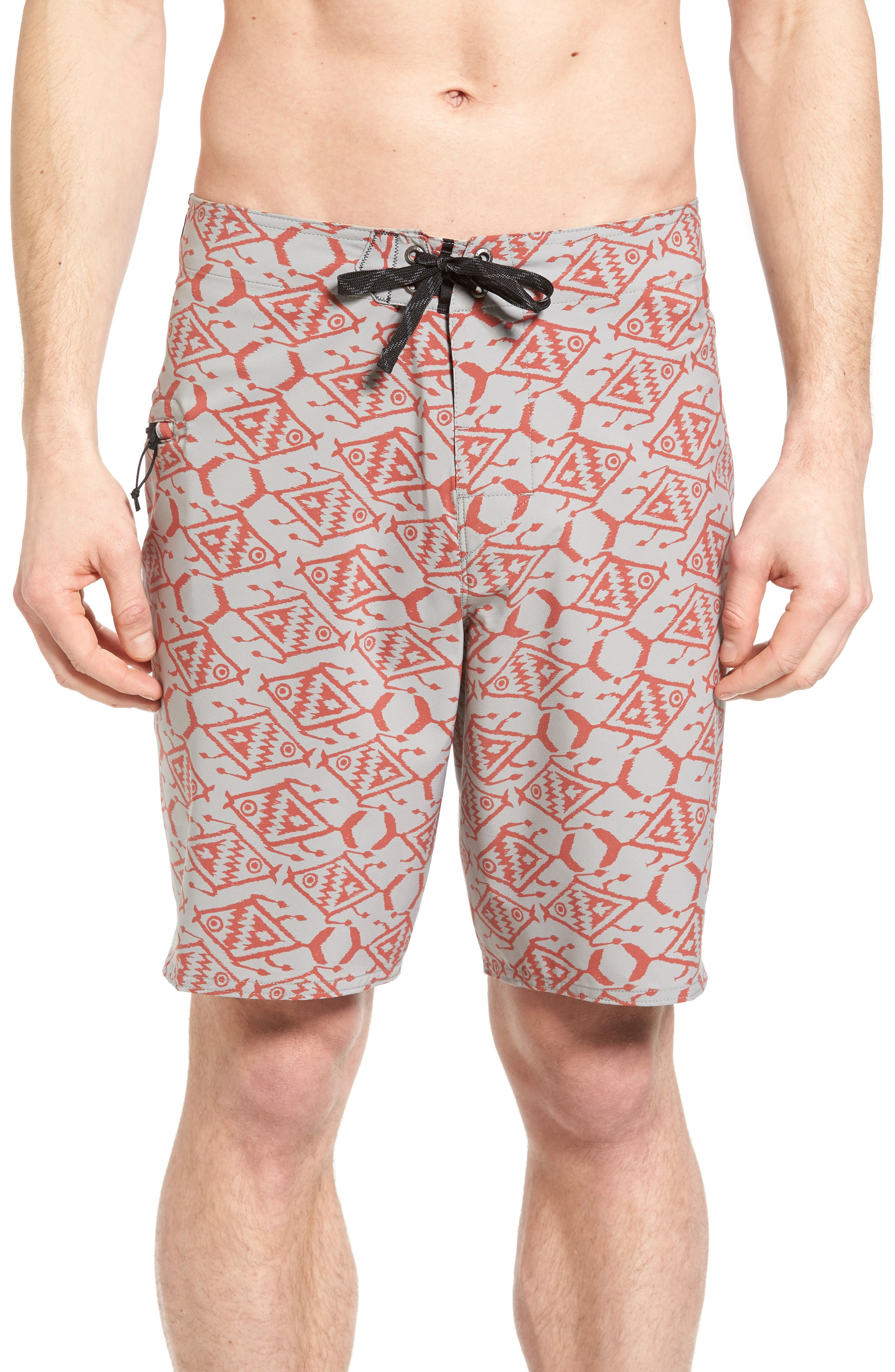 Stretch Planing Board Shorts,                         Main,                         color, Spiced Coral