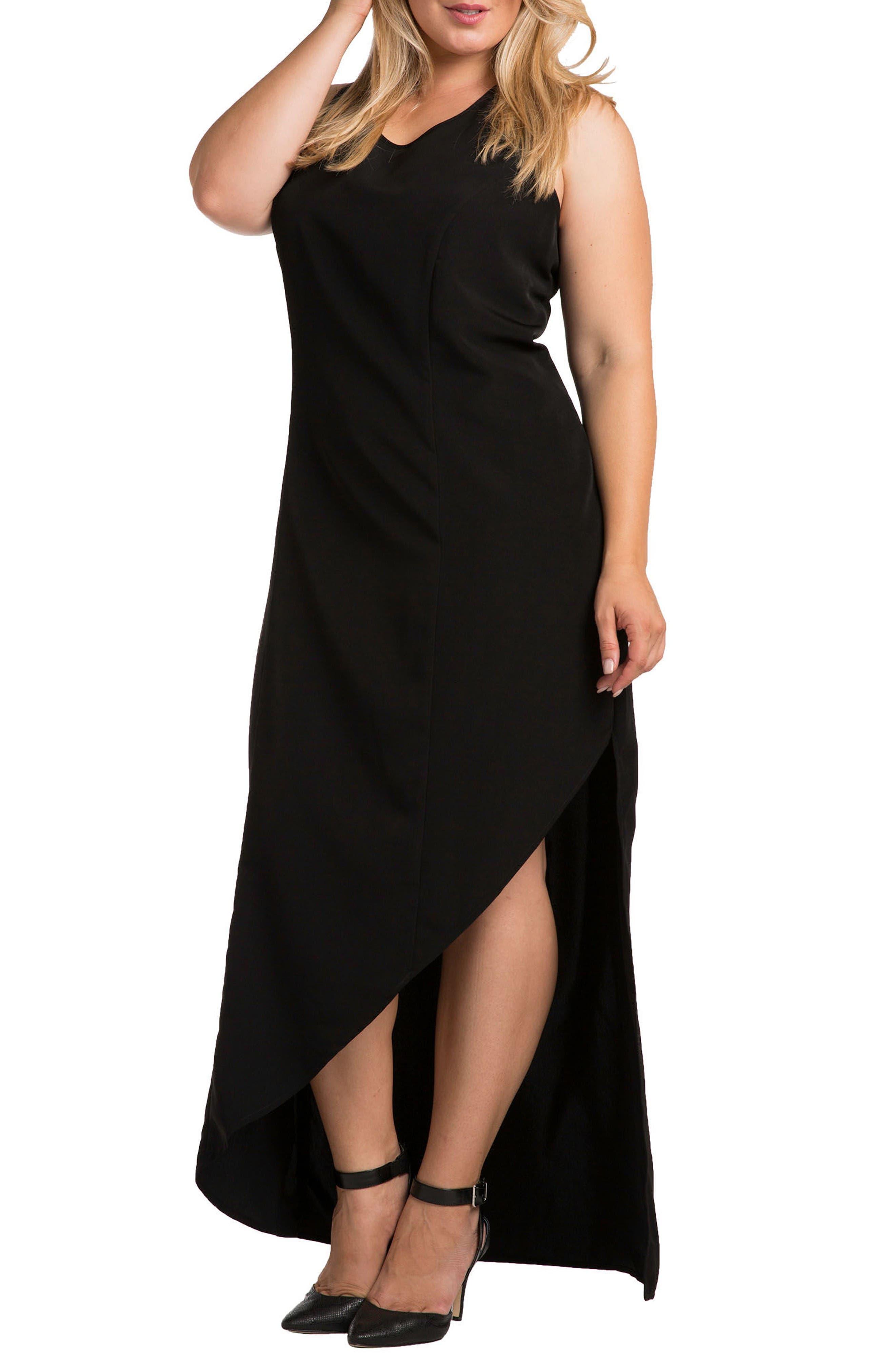 Standards & Practices Artemis Asymmetrical Hem Maxi Dress (Plus Size)