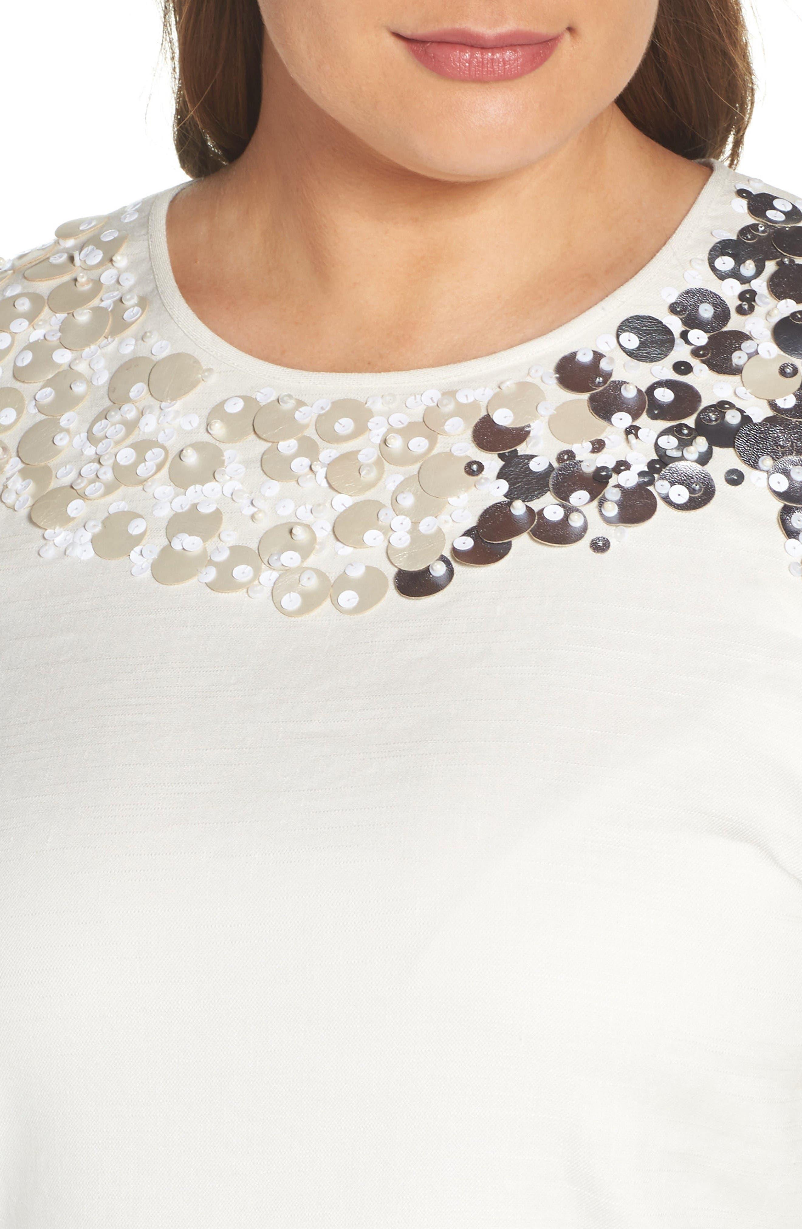Embellished Linen Blend Top,                             Alternate thumbnail 4, color,                             Bone