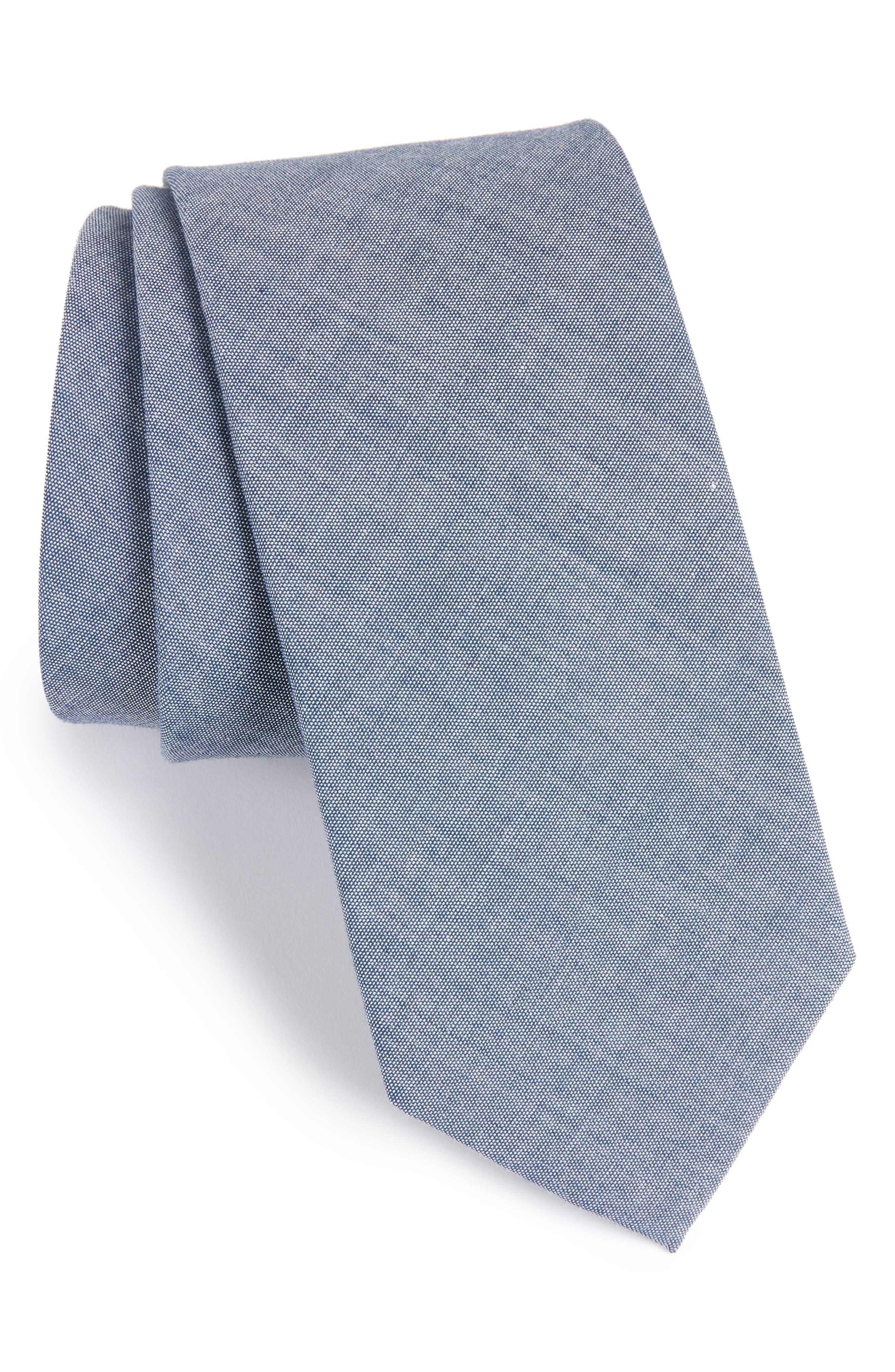 Classic Chambray Cotton Tie,                         Main,                         color, Warm Blue