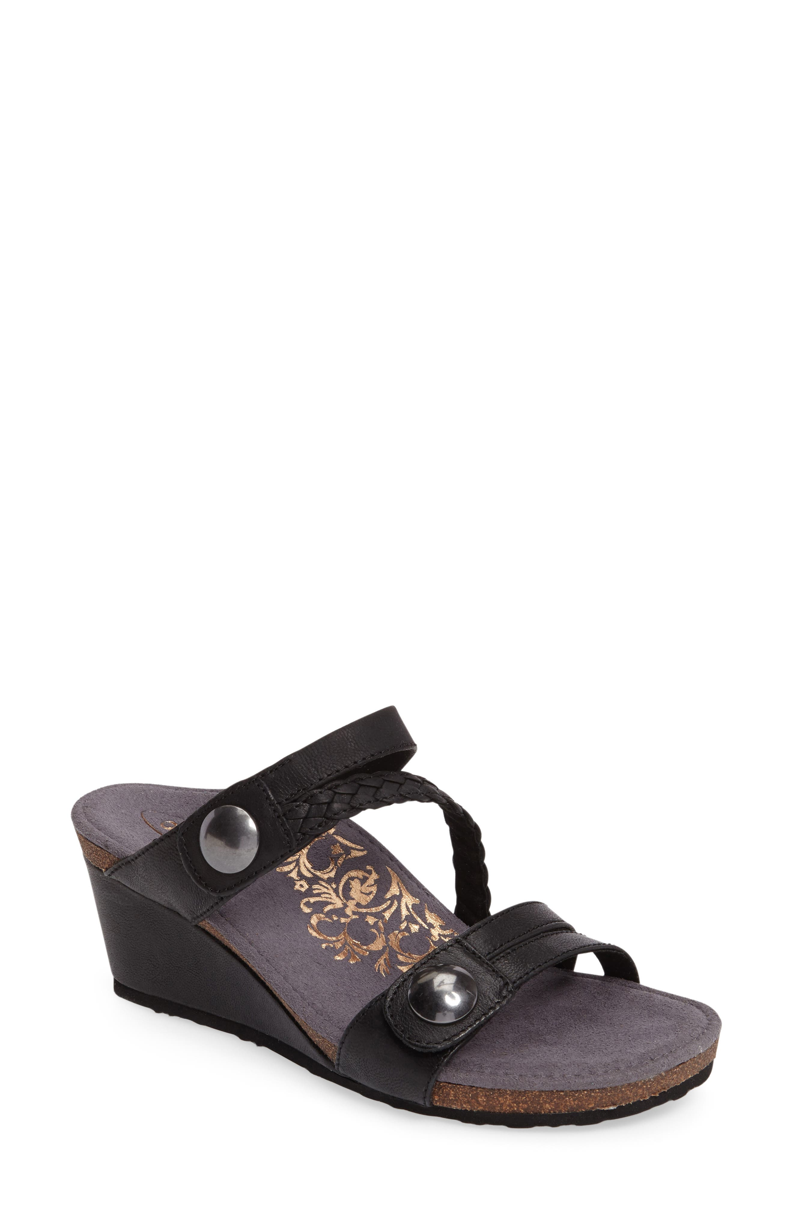 Aetrex Lydia Strappy Wedge Sandal (Women)