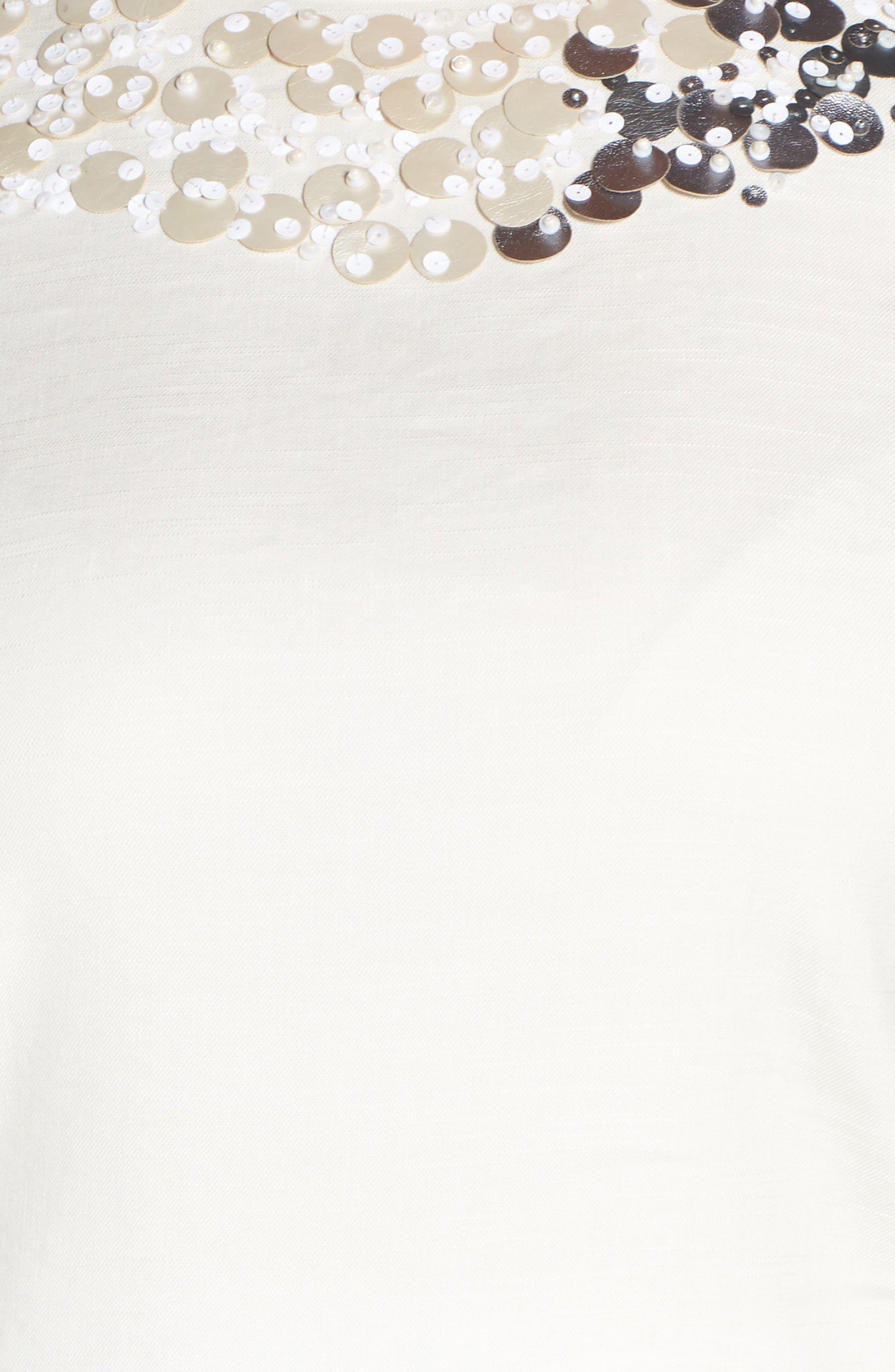 Embellished Linen Blend Top,                             Alternate thumbnail 5, color,                             Bone