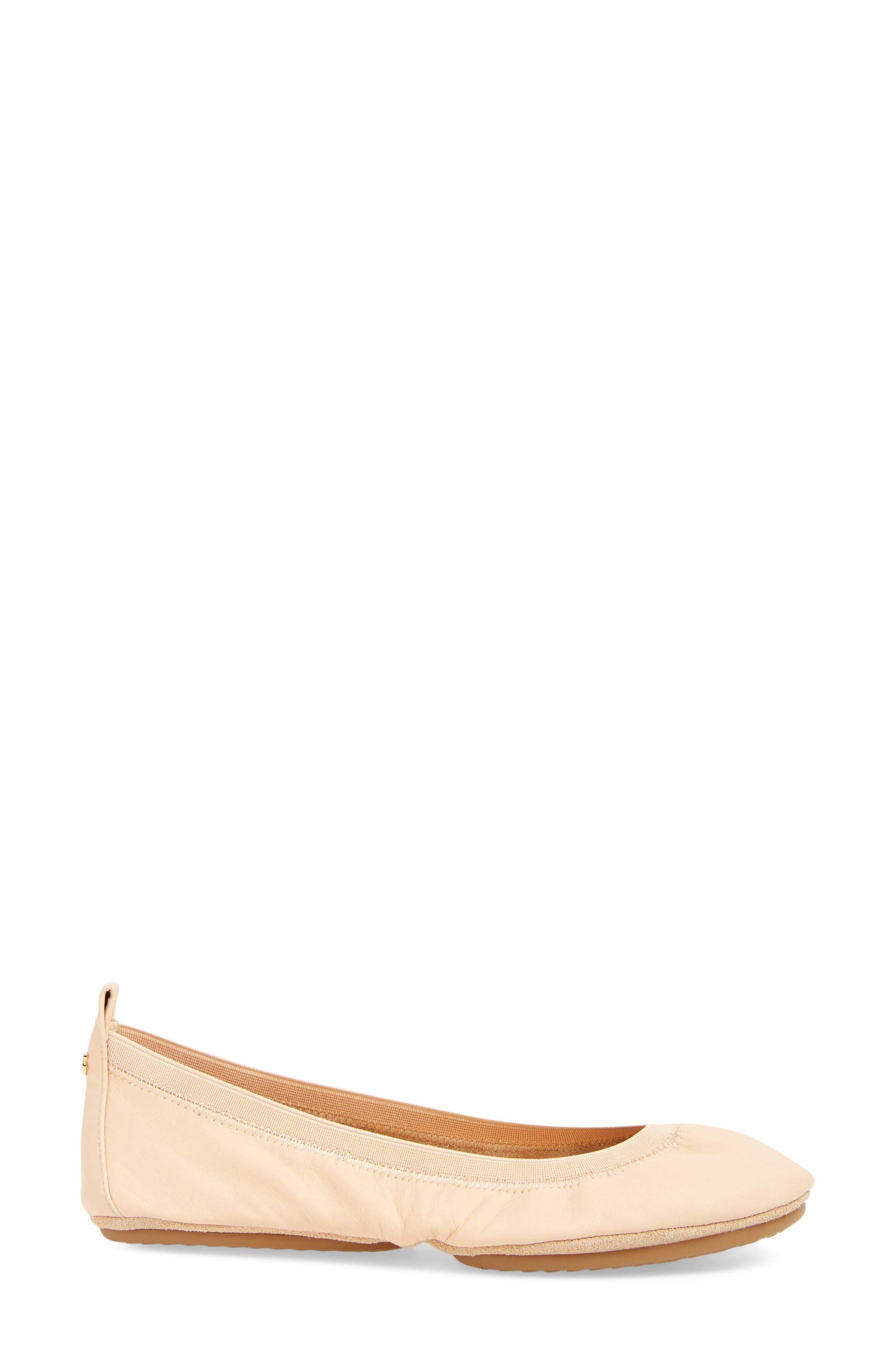 Samara Foldable Ballet Flat,                             Alternate thumbnail 3, color,                             Nude Leather