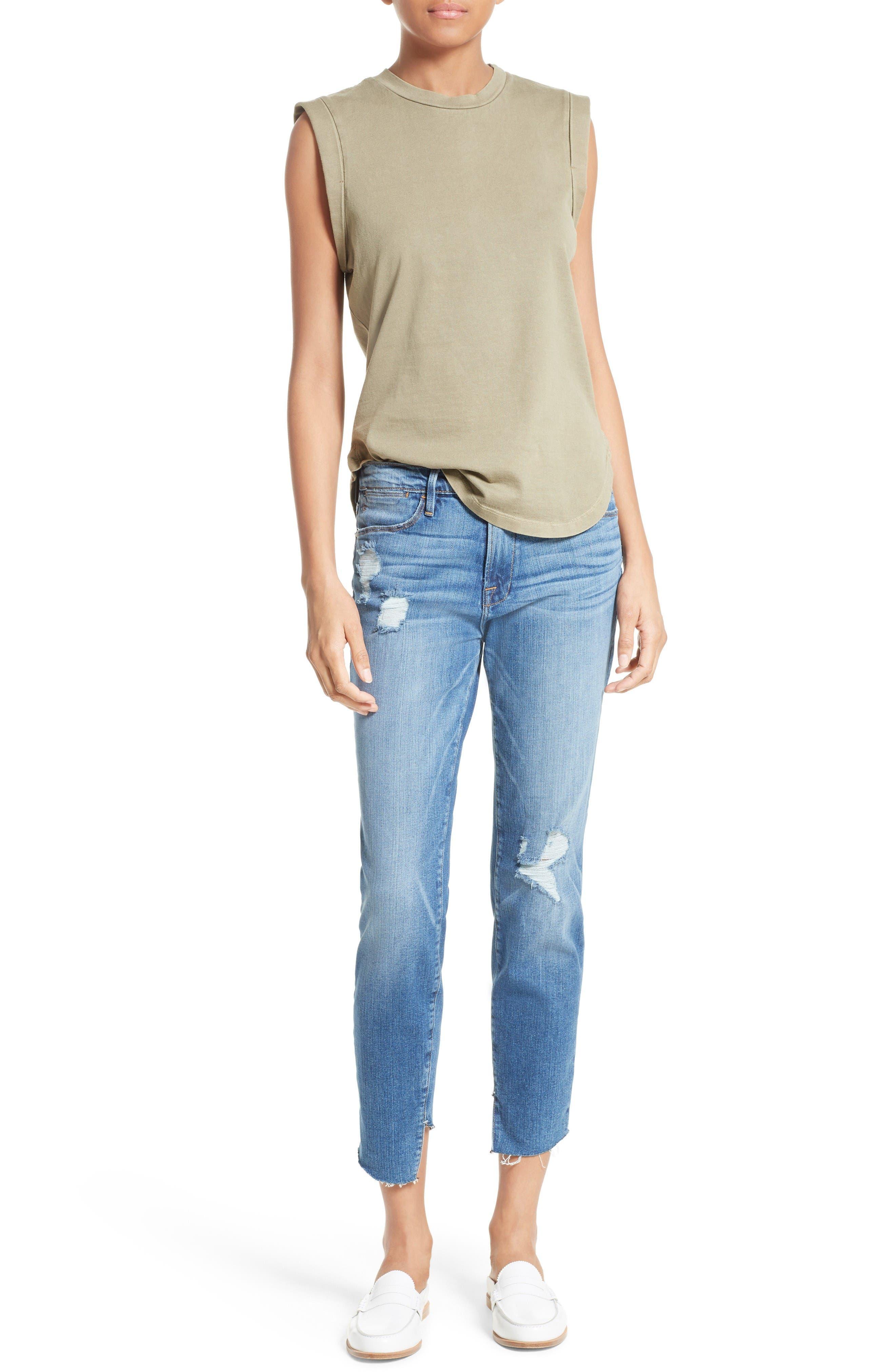Alternate Image 2  - FRAME Le High Skinny Cascade Hem Jeans (Arenas) (Nordstrom Exclusive)