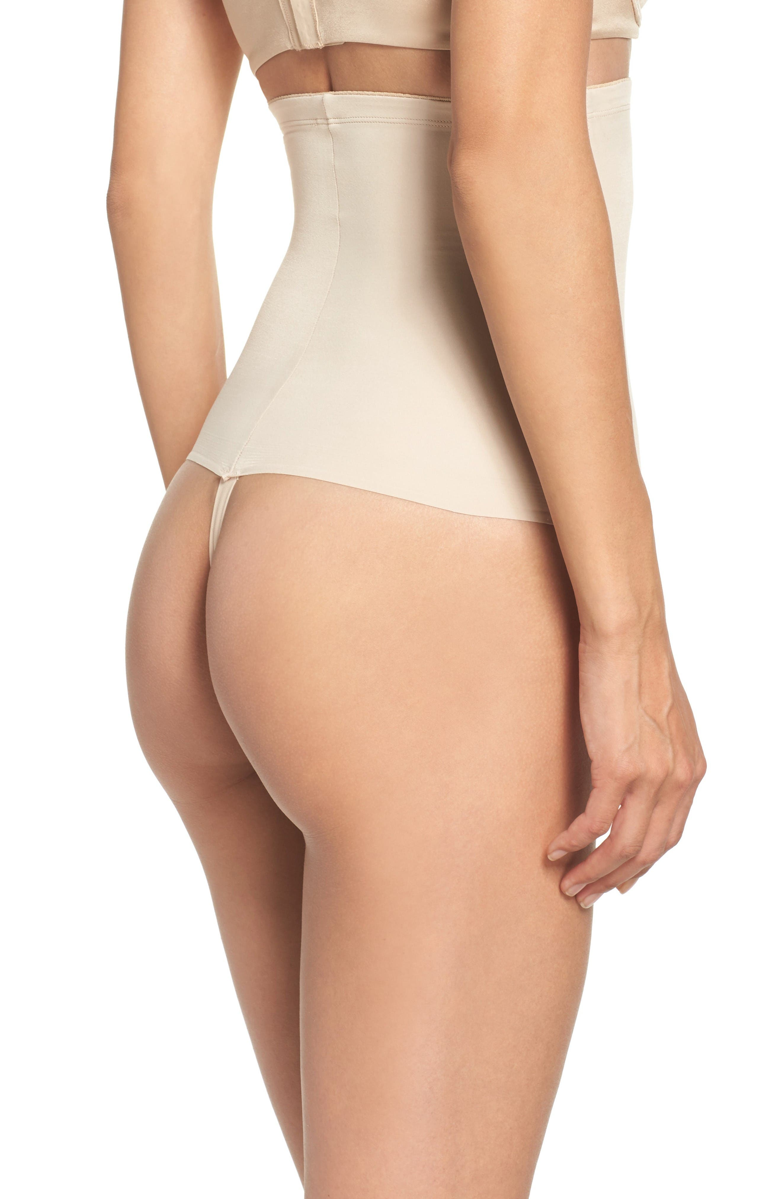 High Waist Shaping Thong,                             Alternate thumbnail 2, color,                             Nude
