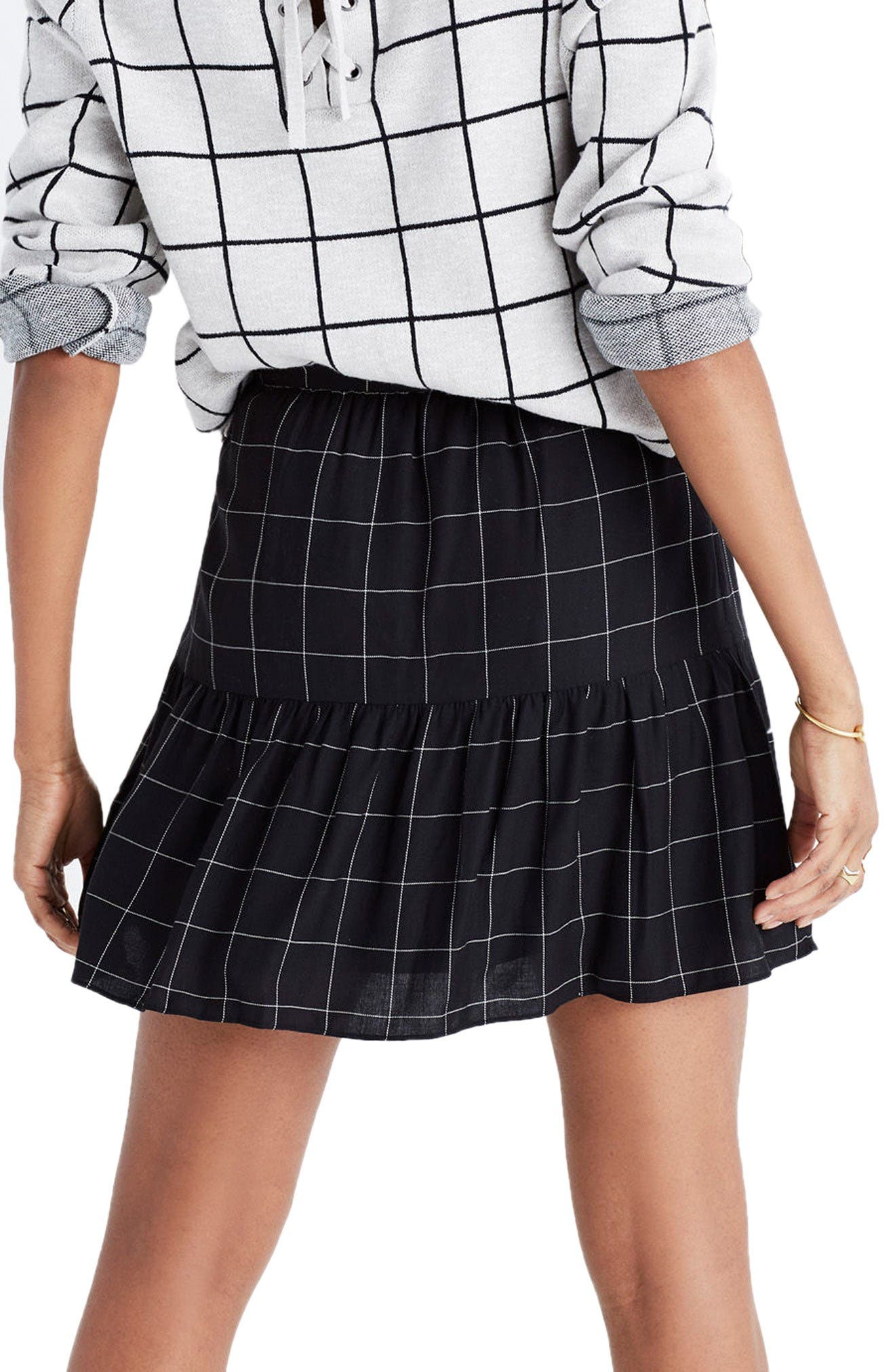 Alternate Image 2  - Madewell Windowpane Ruffle Hem Miniskirt