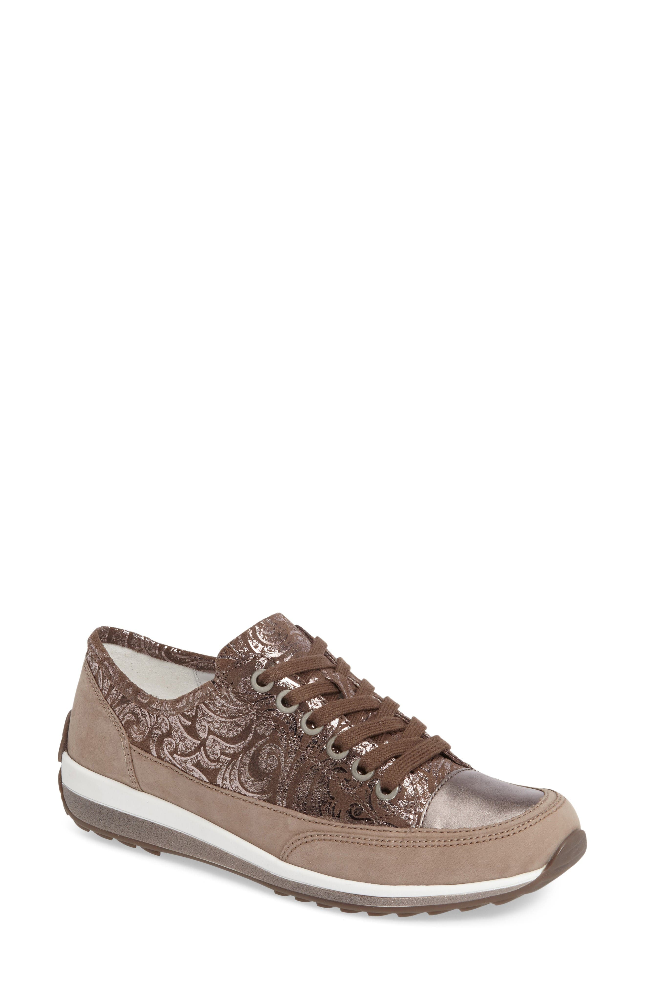 Hermione Sneaker,                         Main,                         color, Taupe Combo Leather
