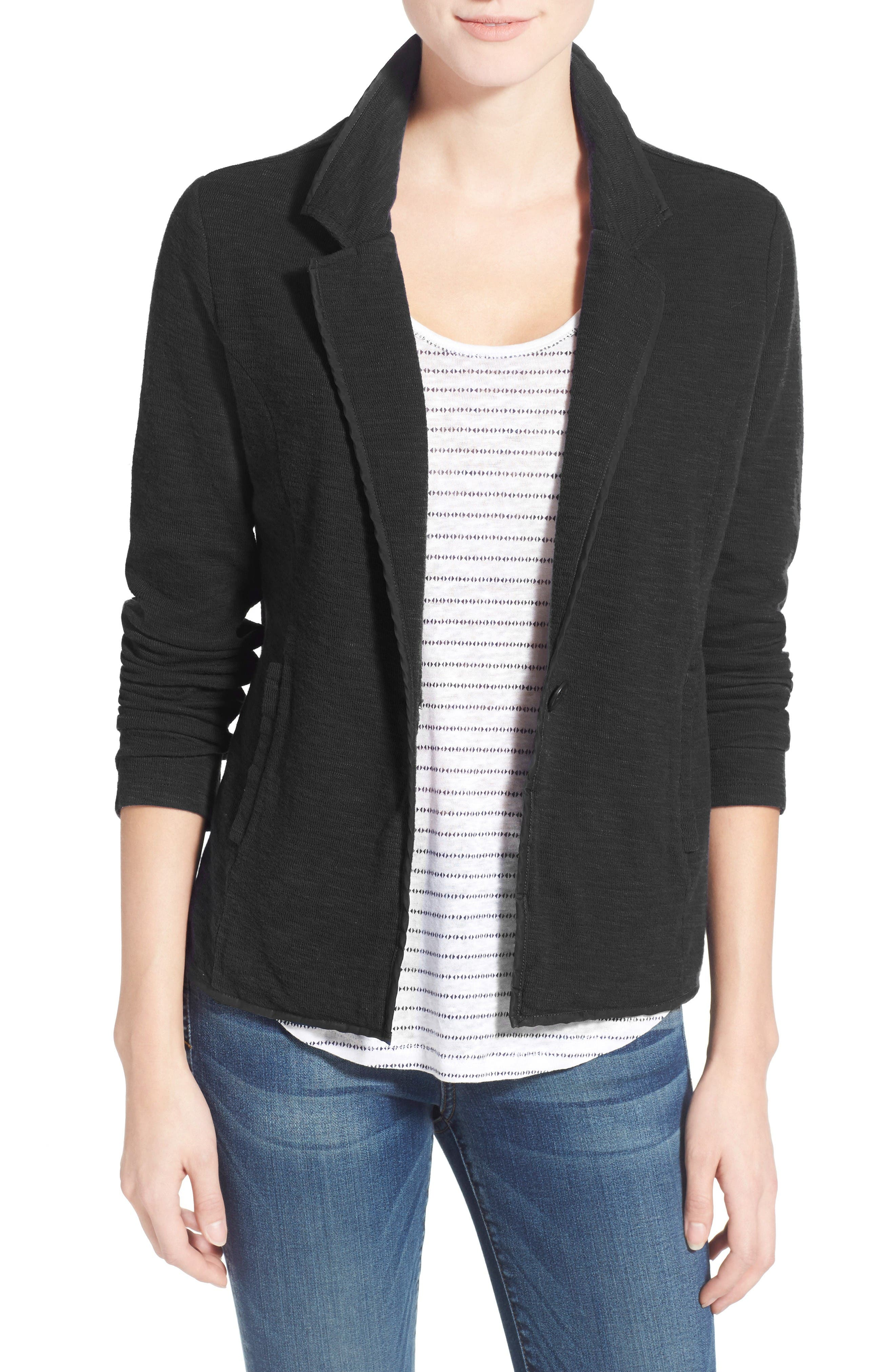 Caslon® One-Button Knit Blazer (Regular & Petite)
