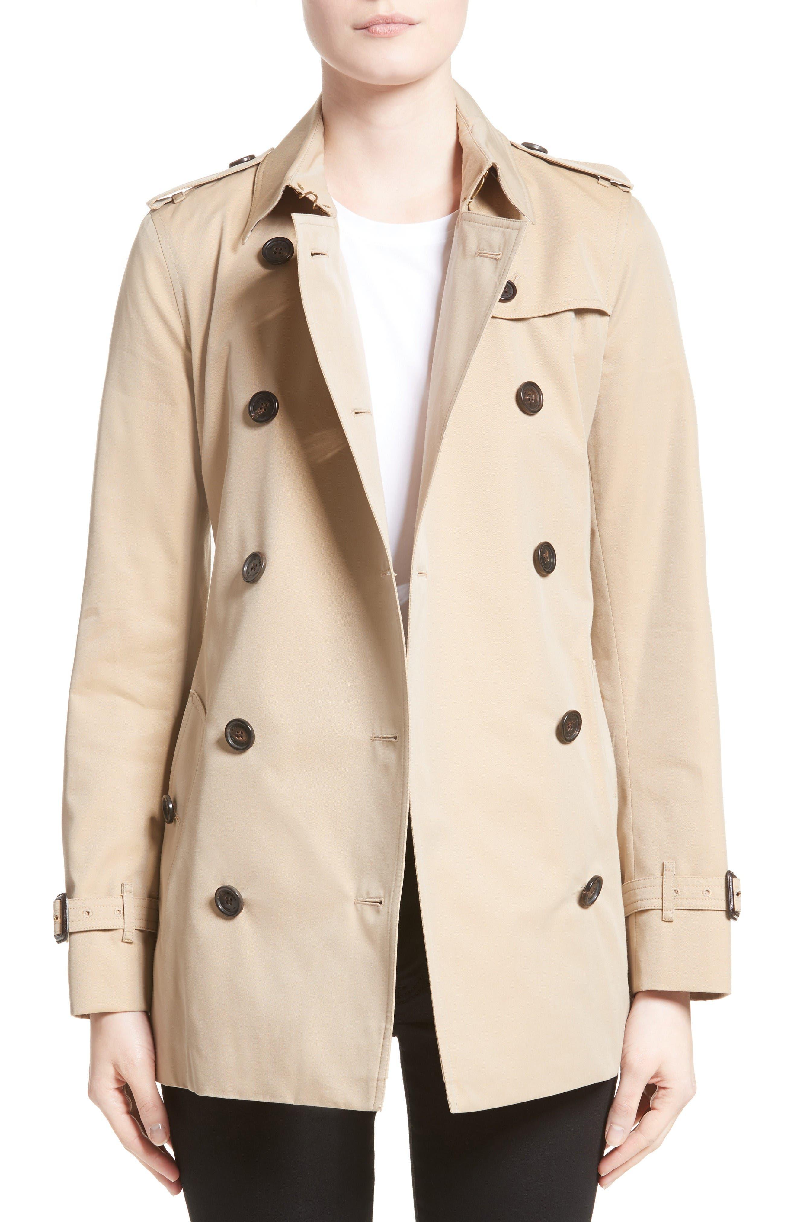 Kensington Short Trench Coat,                         Main,                         color, Honey