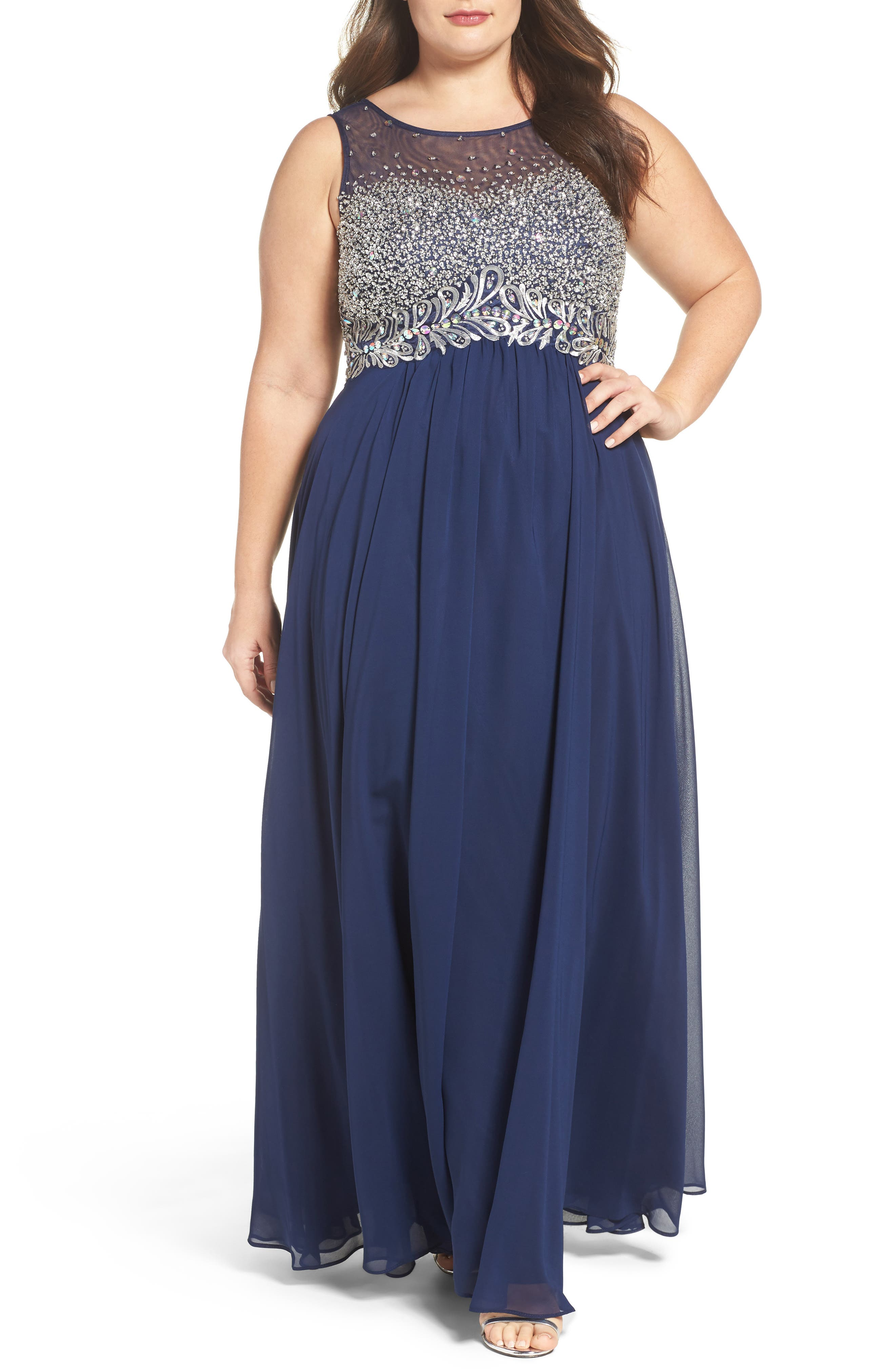 Beaded Illusion Bodice A-Line Gown,                             Main thumbnail 1, color,                             Navy
