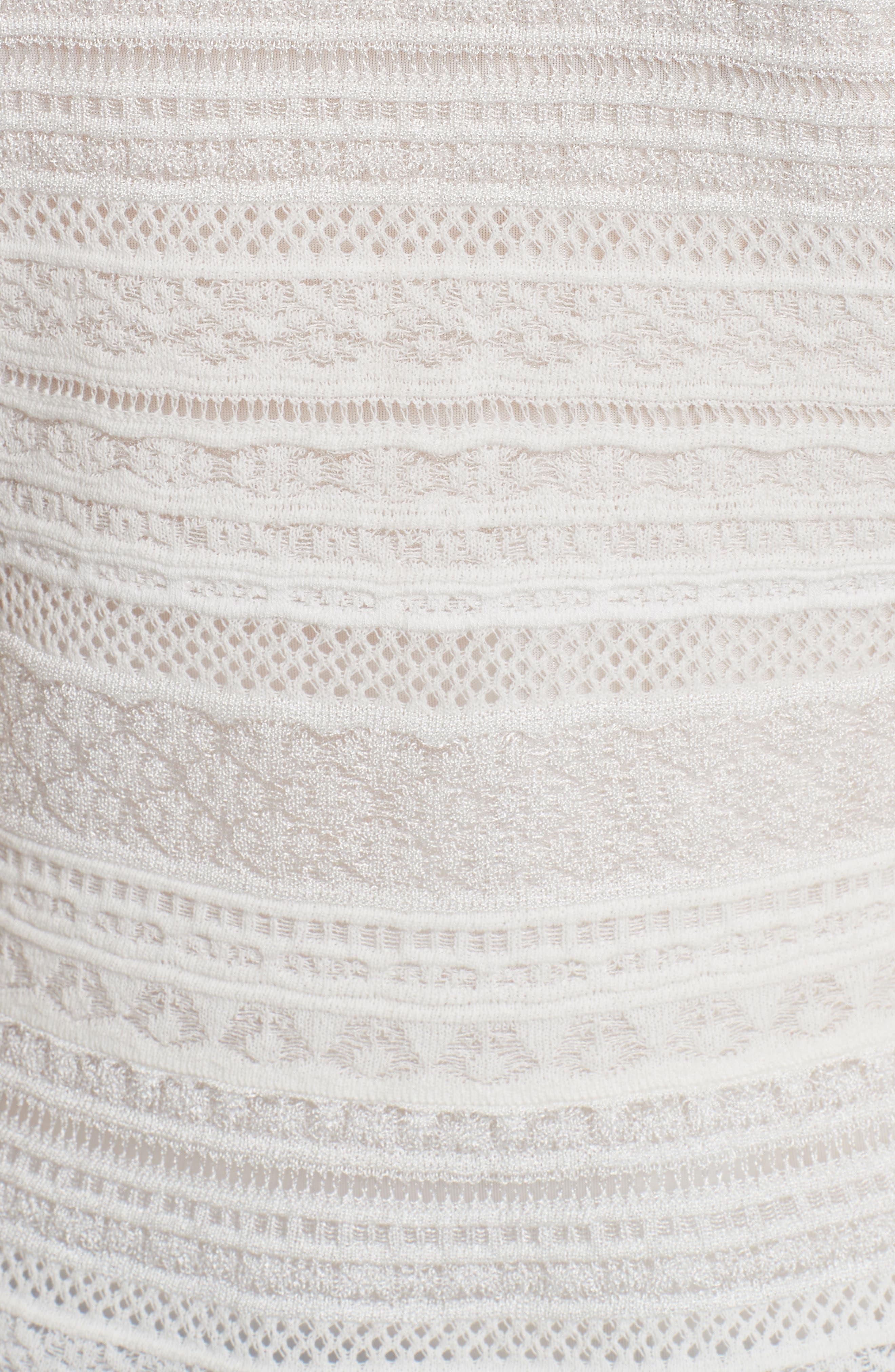 Lace Ribbon Peplum Top,                             Alternate thumbnail 5, color,                             White
