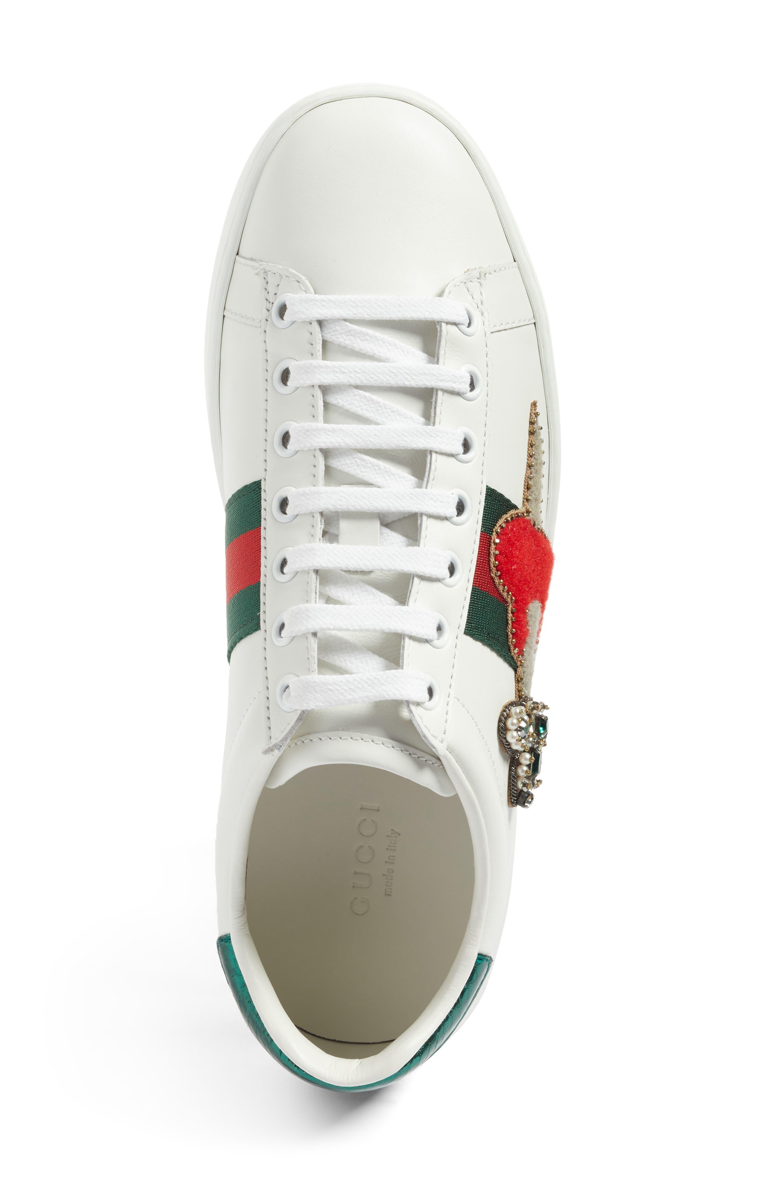 New Ace Pierced Heart Sneaker,                             Alternate thumbnail 5, color,                             White Multi