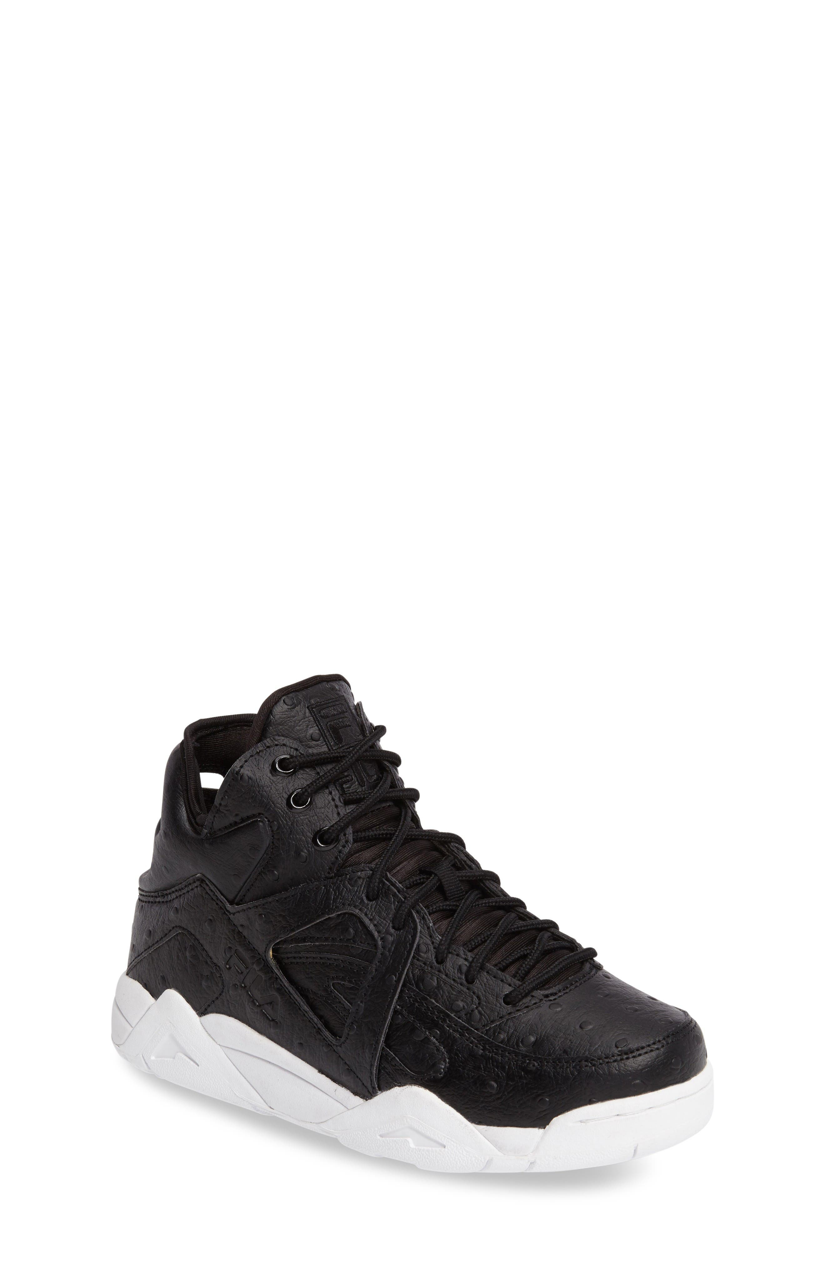 The Cage Ostrich Sneaker,                         Main,                         color, Black
