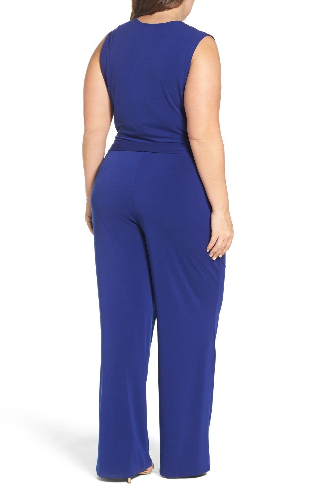 Lizzie Wide Leg Jumpsuit,                             Alternate thumbnail 2, color,                             Navy Crepe