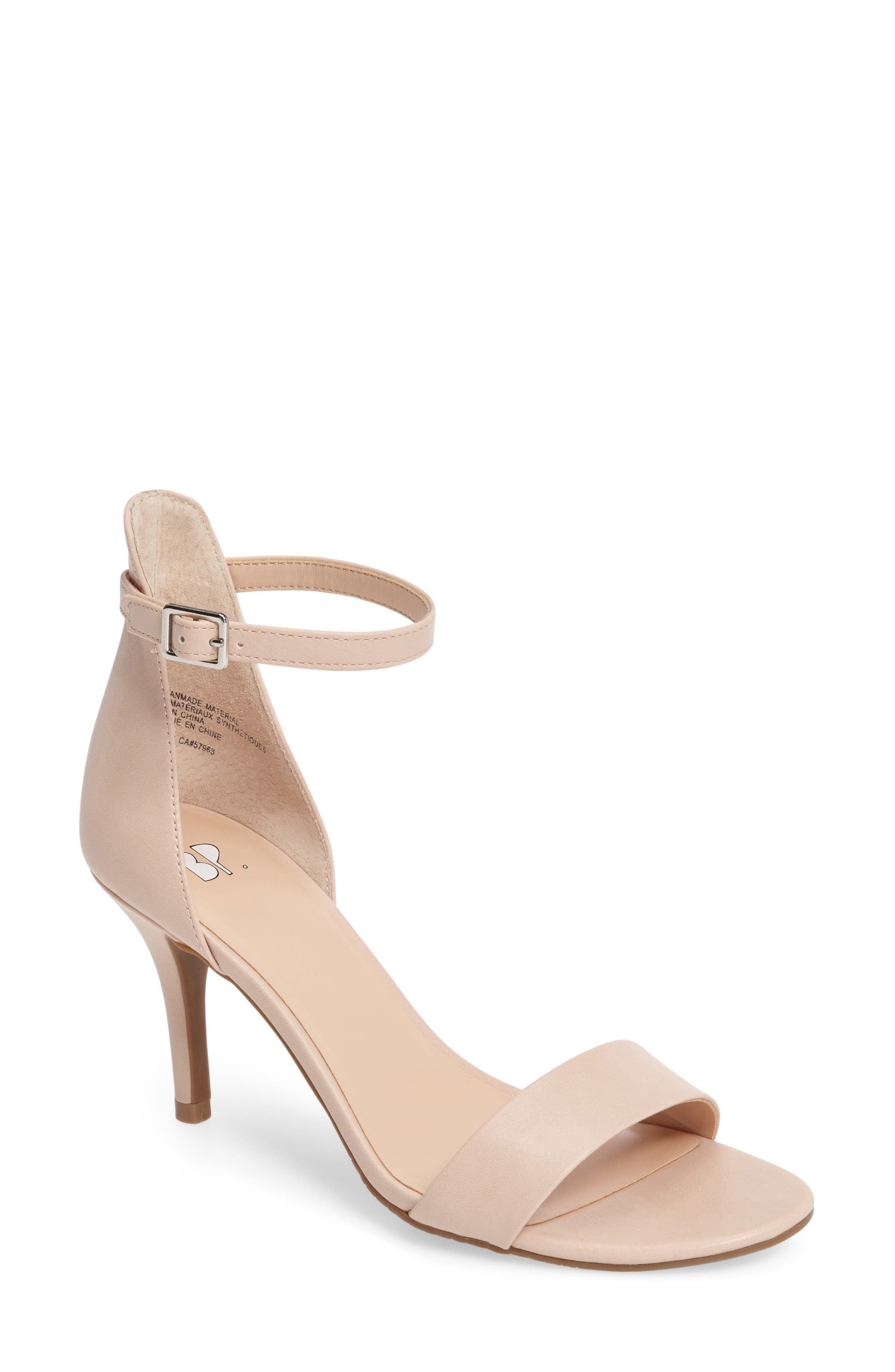 'Luminate' Open Toe Dress Sandal,                             Main thumbnail 1, color,                             Blush Faux Leather