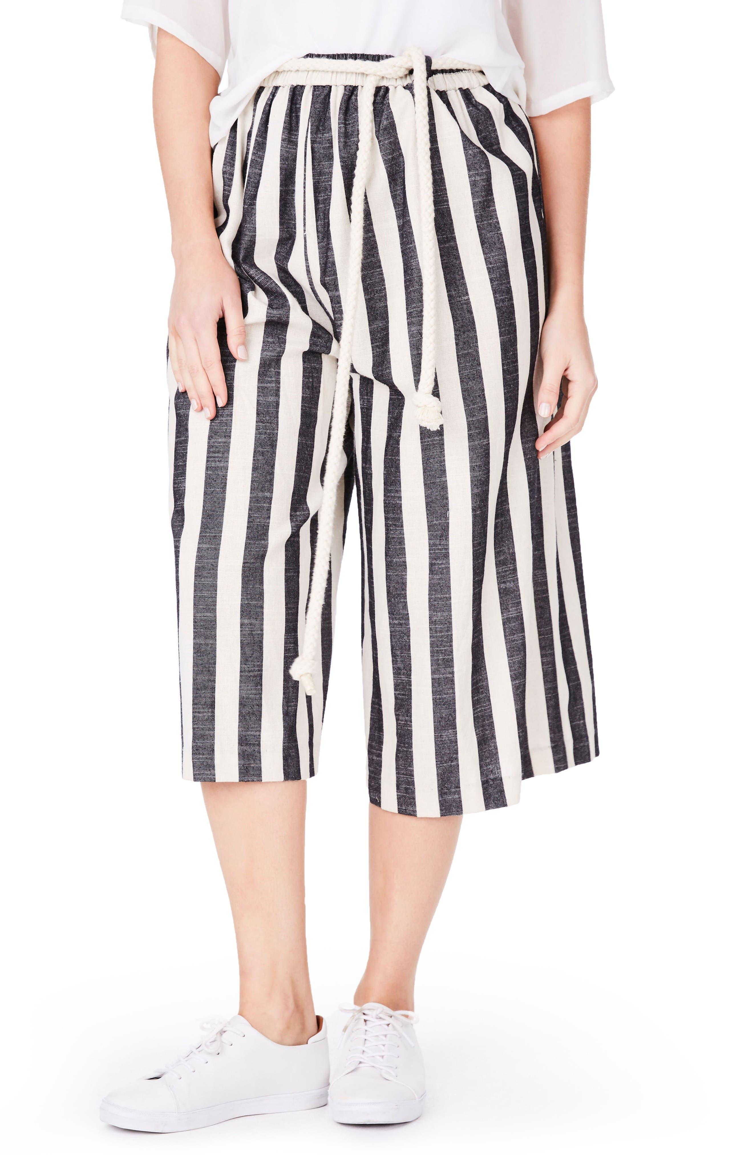 Stripe Culottes,                         Main,                         color, Black