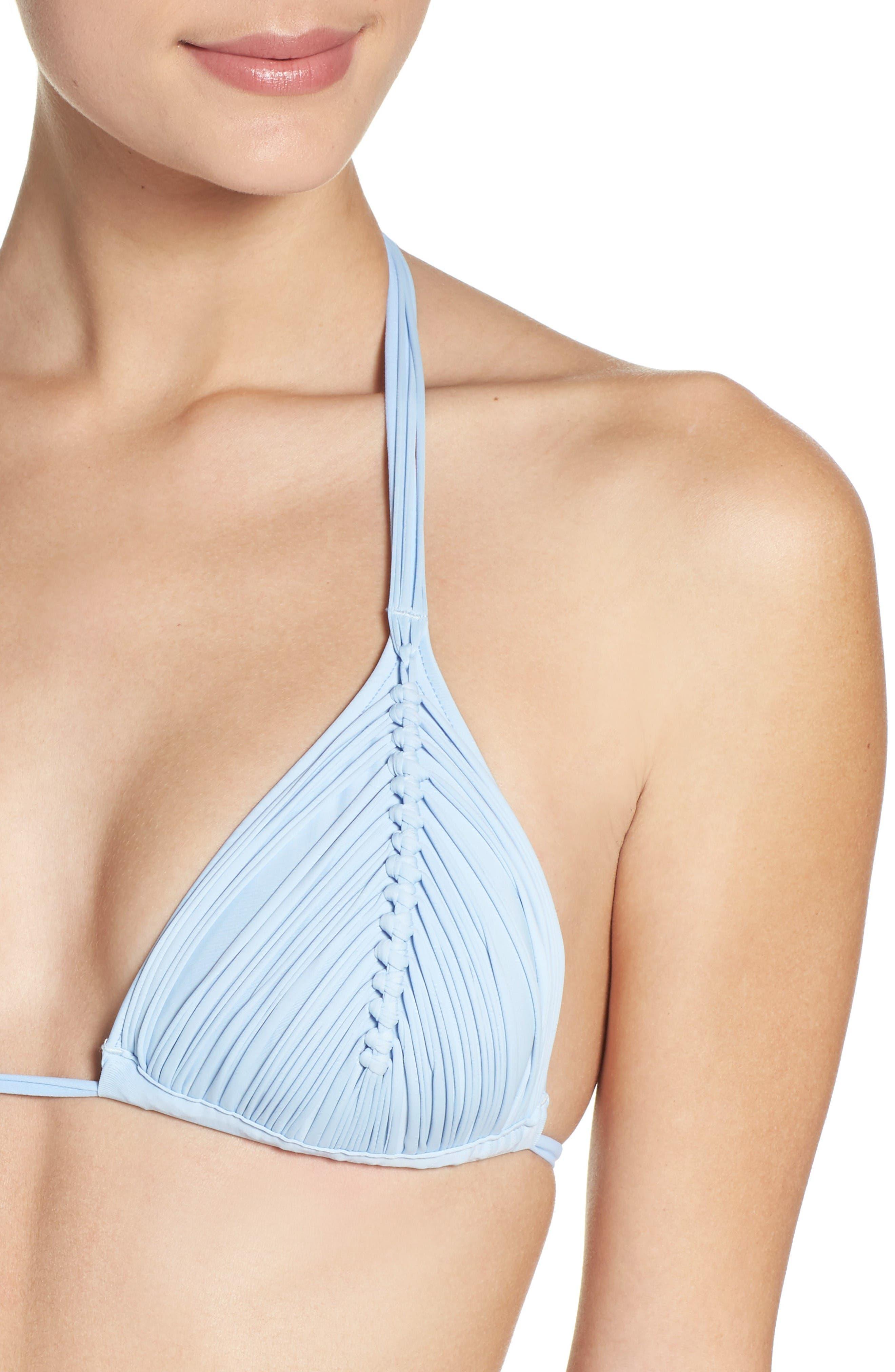 Isla Macramé Bikini Top,                             Alternate thumbnail 4, color,                             Pebble Blue