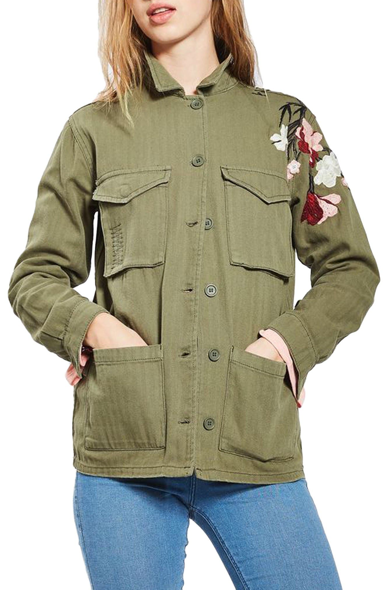 Embroidered Army Shirt Jacket,                             Main thumbnail 1, color,                             Olive