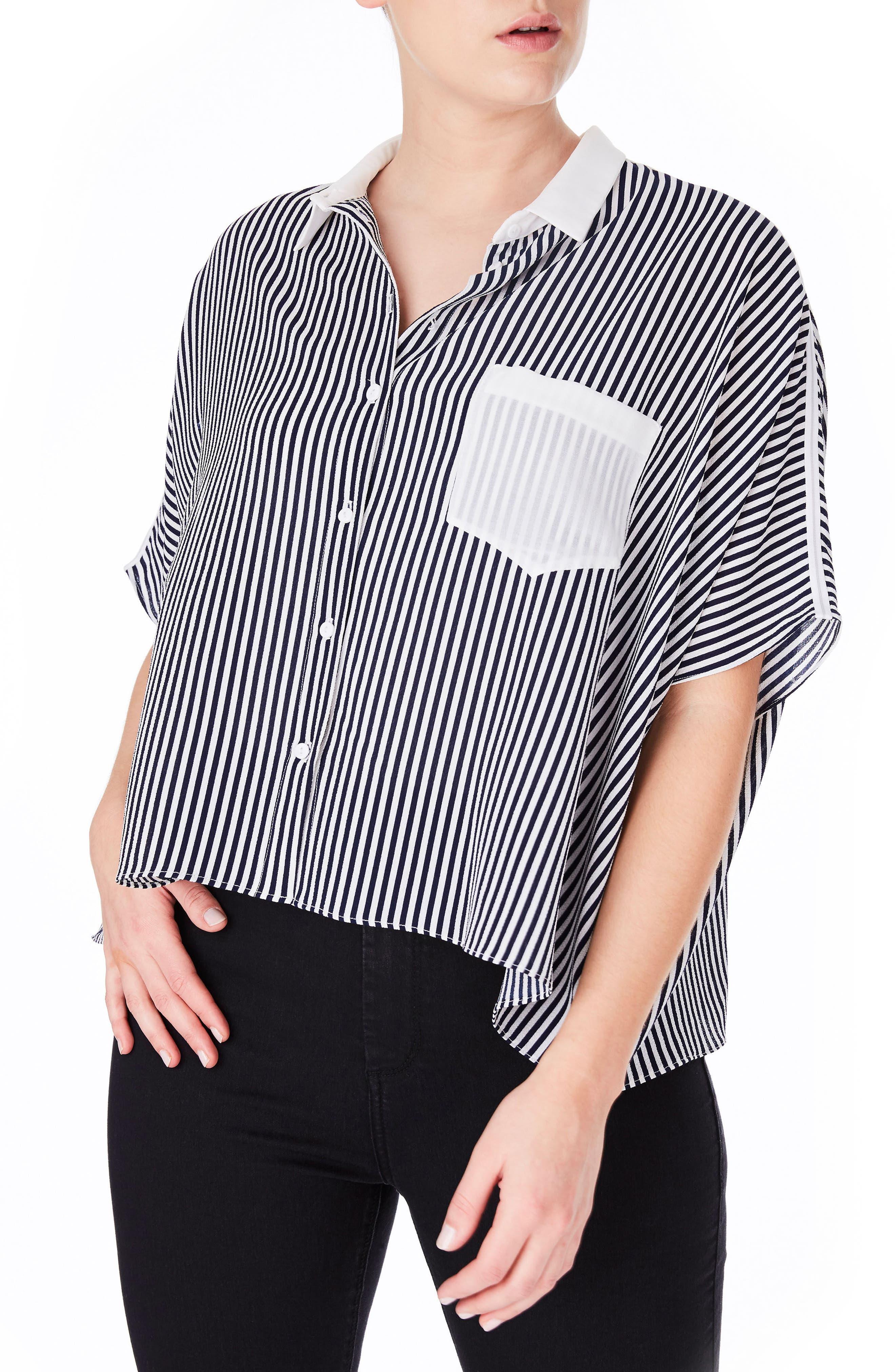 Main Image - ELVI Stripe Boxy Shirt (Plus Size)