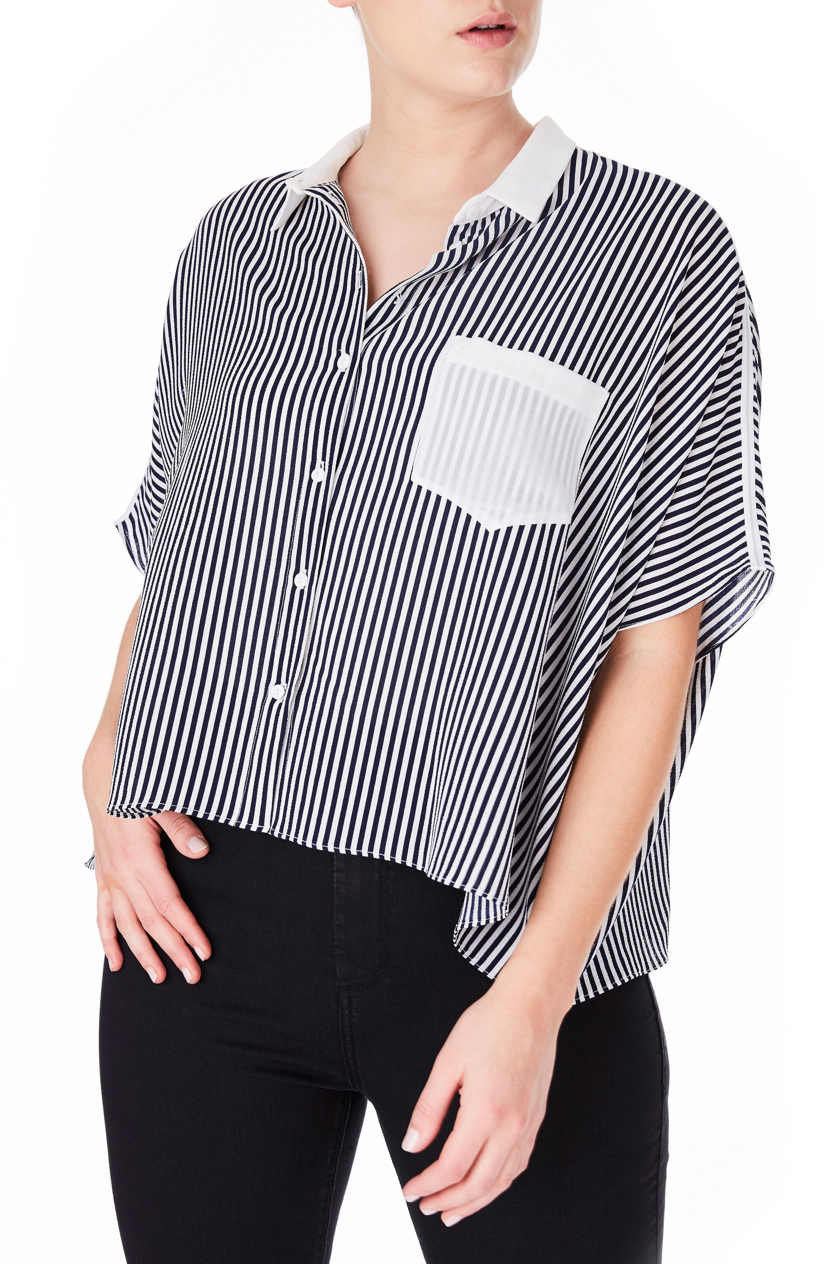 Stripe Boxy Shirt,                         Main,                         color, White