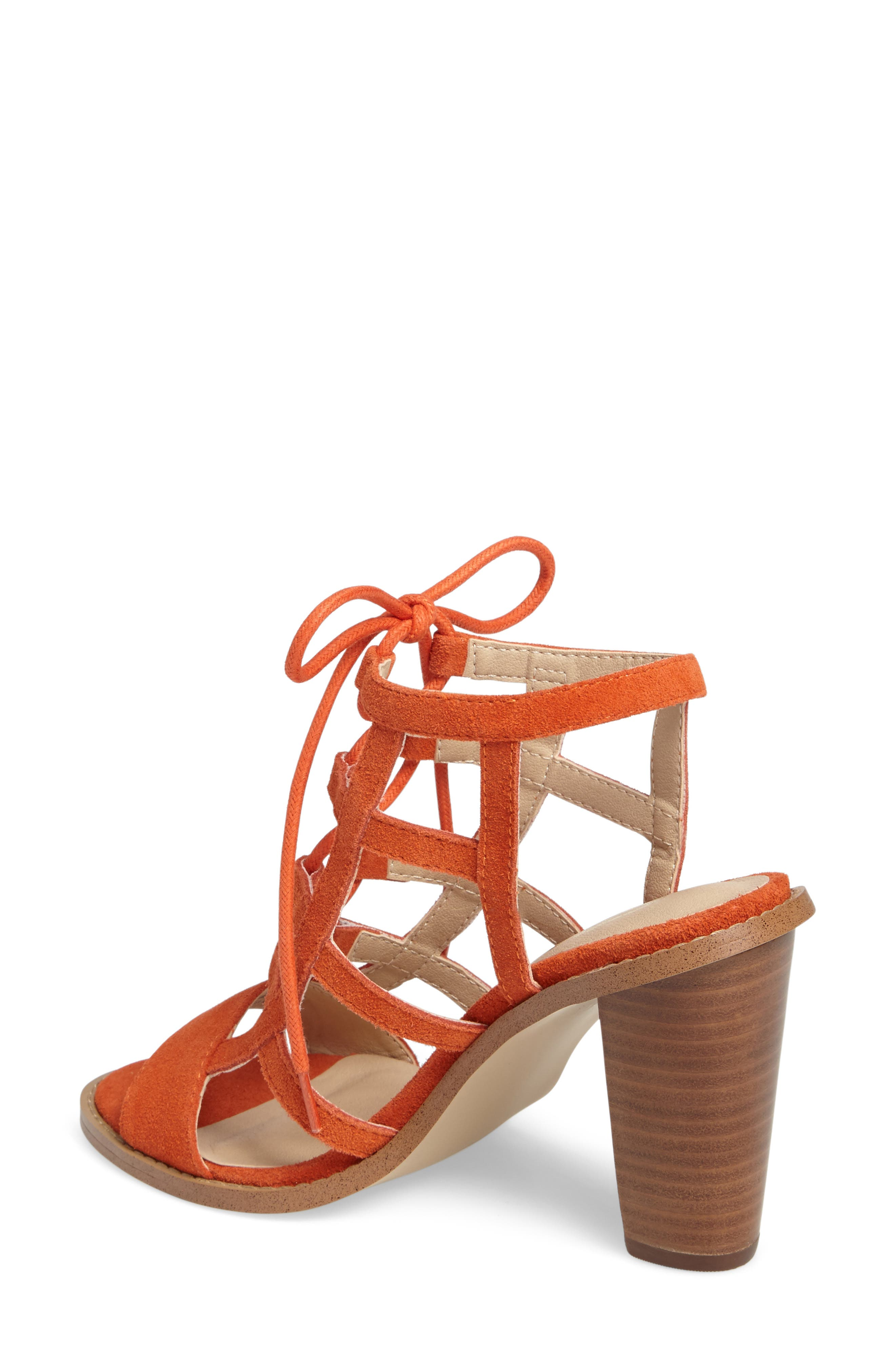 Sanni Cage Sandal,                             Alternate thumbnail 2, color,                             Orange Leather