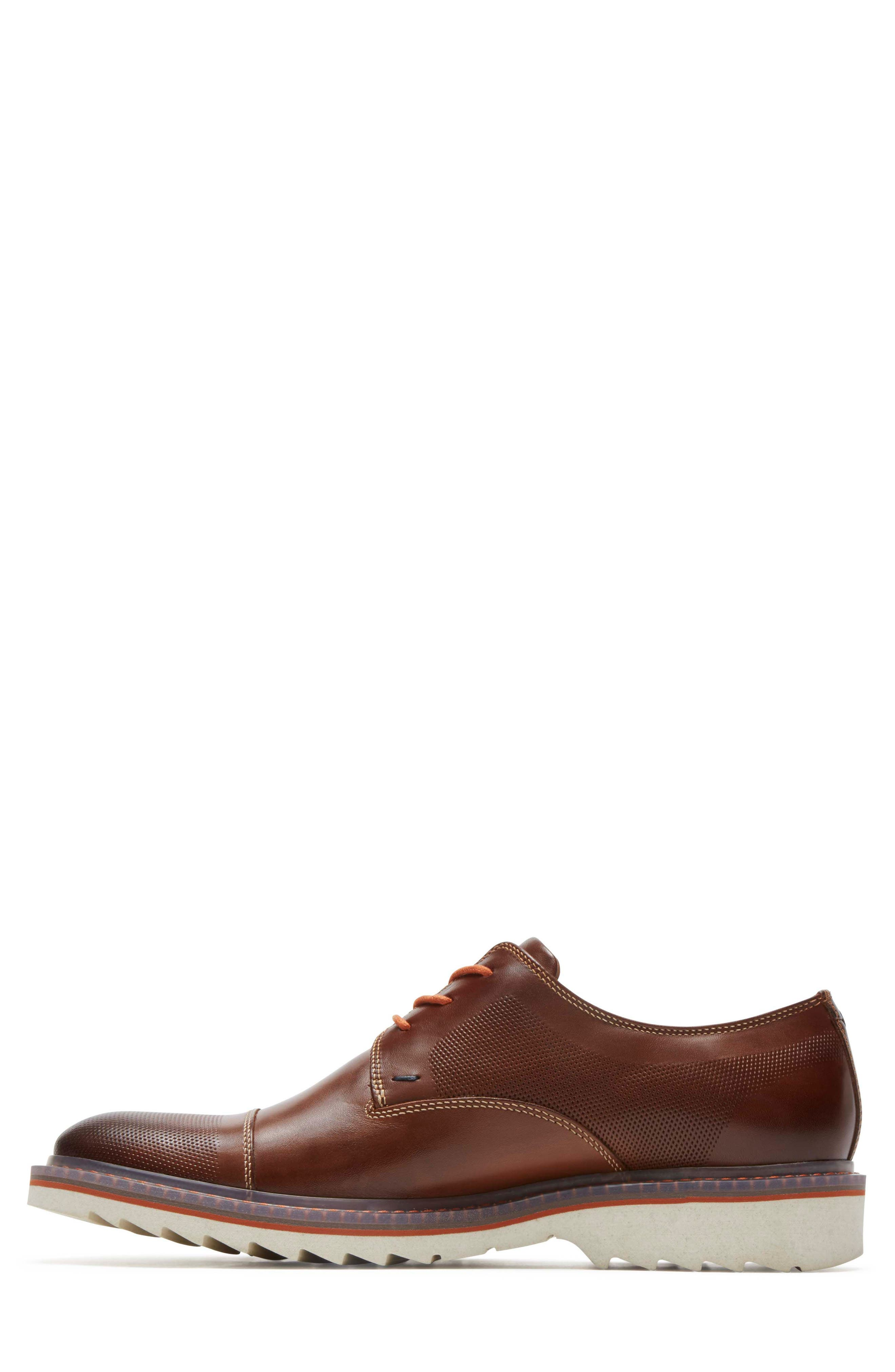 Jaxson Cap Toe Derby,                             Alternate thumbnail 2, color,                             Brown Leather