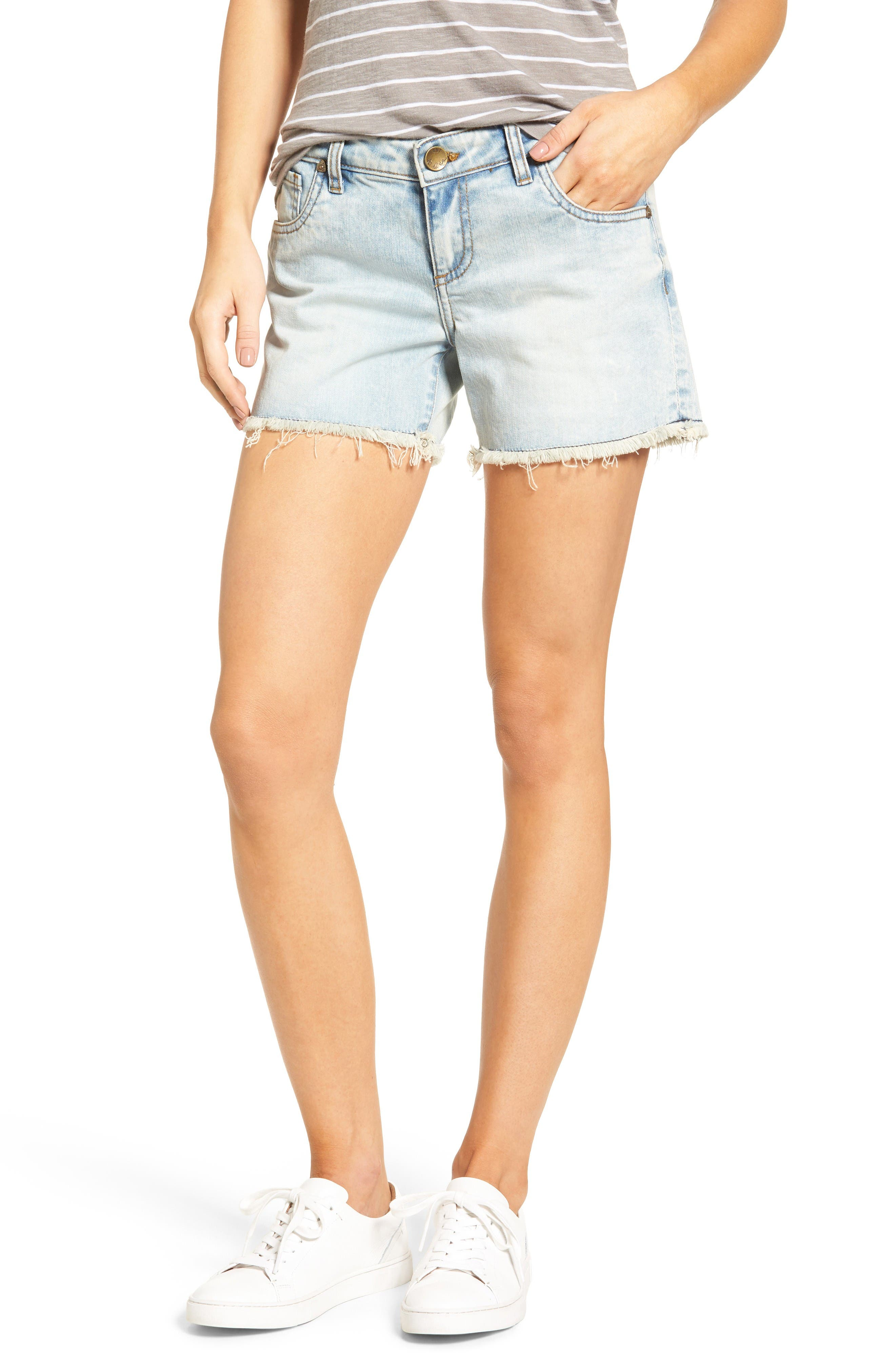 KUT from the Kloth Gidget Fray Hem Denim Shorts