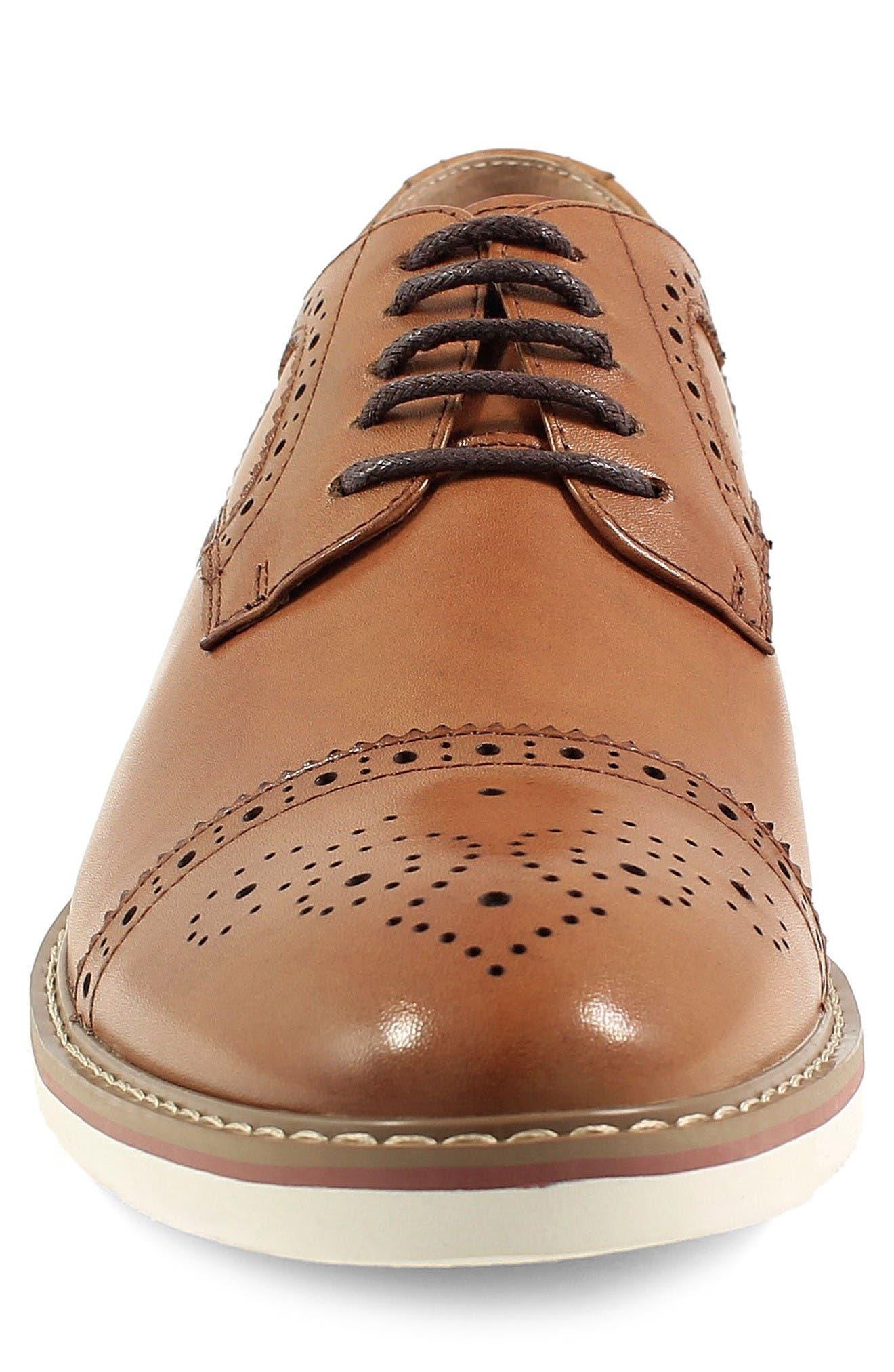 Union Medallion Toe Derby,                             Alternate thumbnail 4, color,                             Cognac Leather