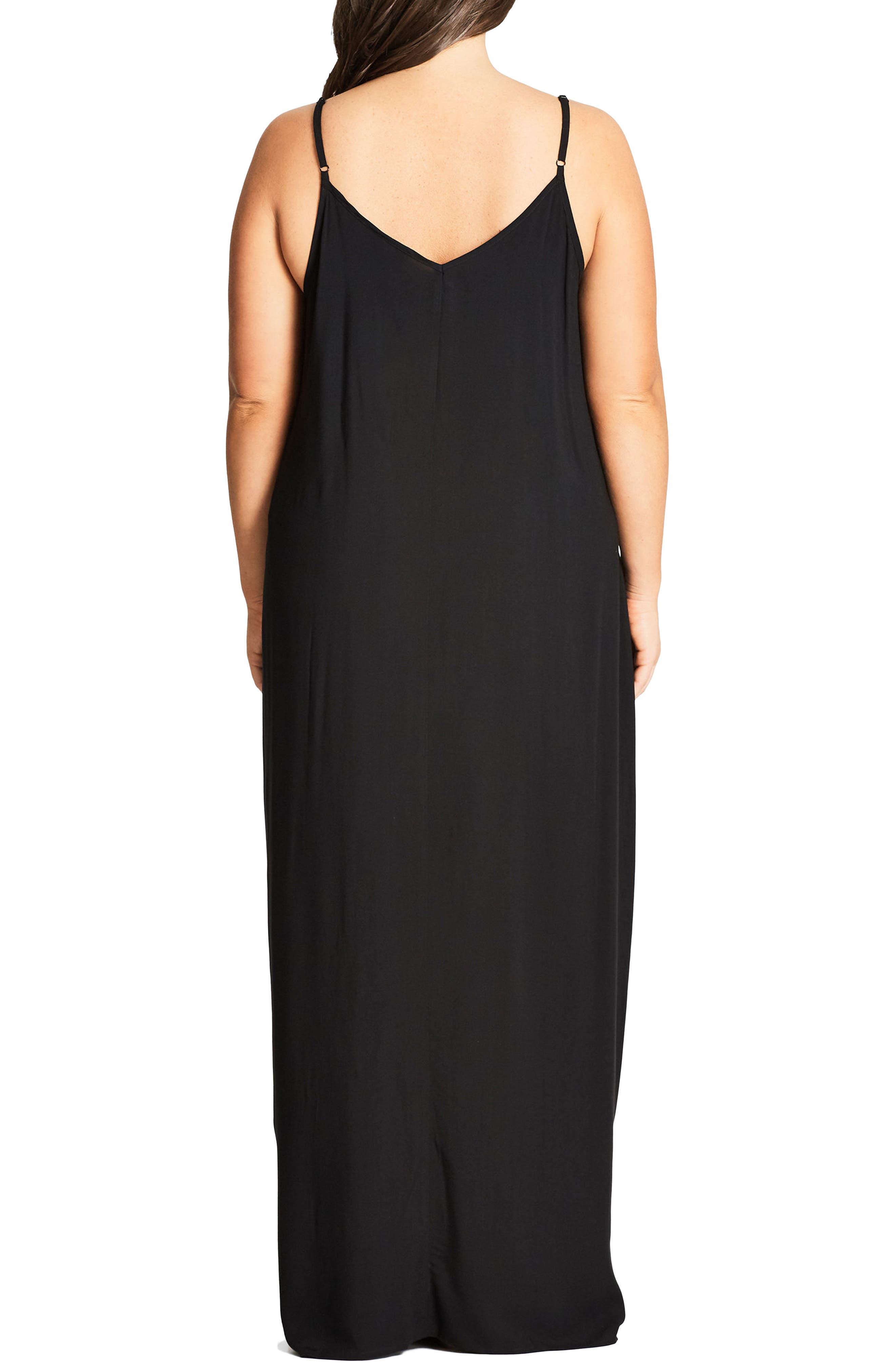 V-Neck Maxi Dress,                             Alternate thumbnail 2, color,                             Black