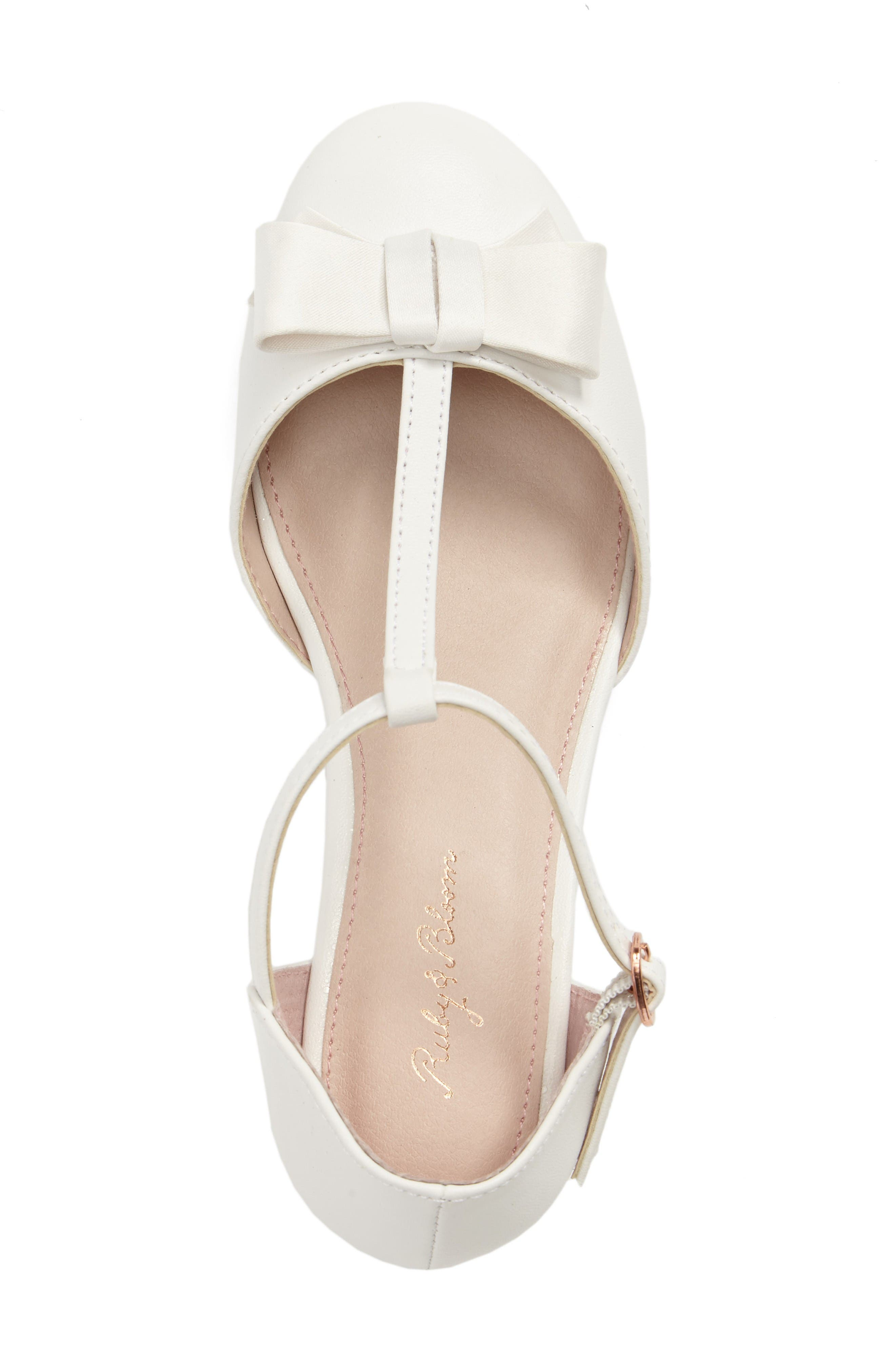 Wylow T-Strap Bow Pump,                             Alternate thumbnail 5, color,                             White Faux Leather
