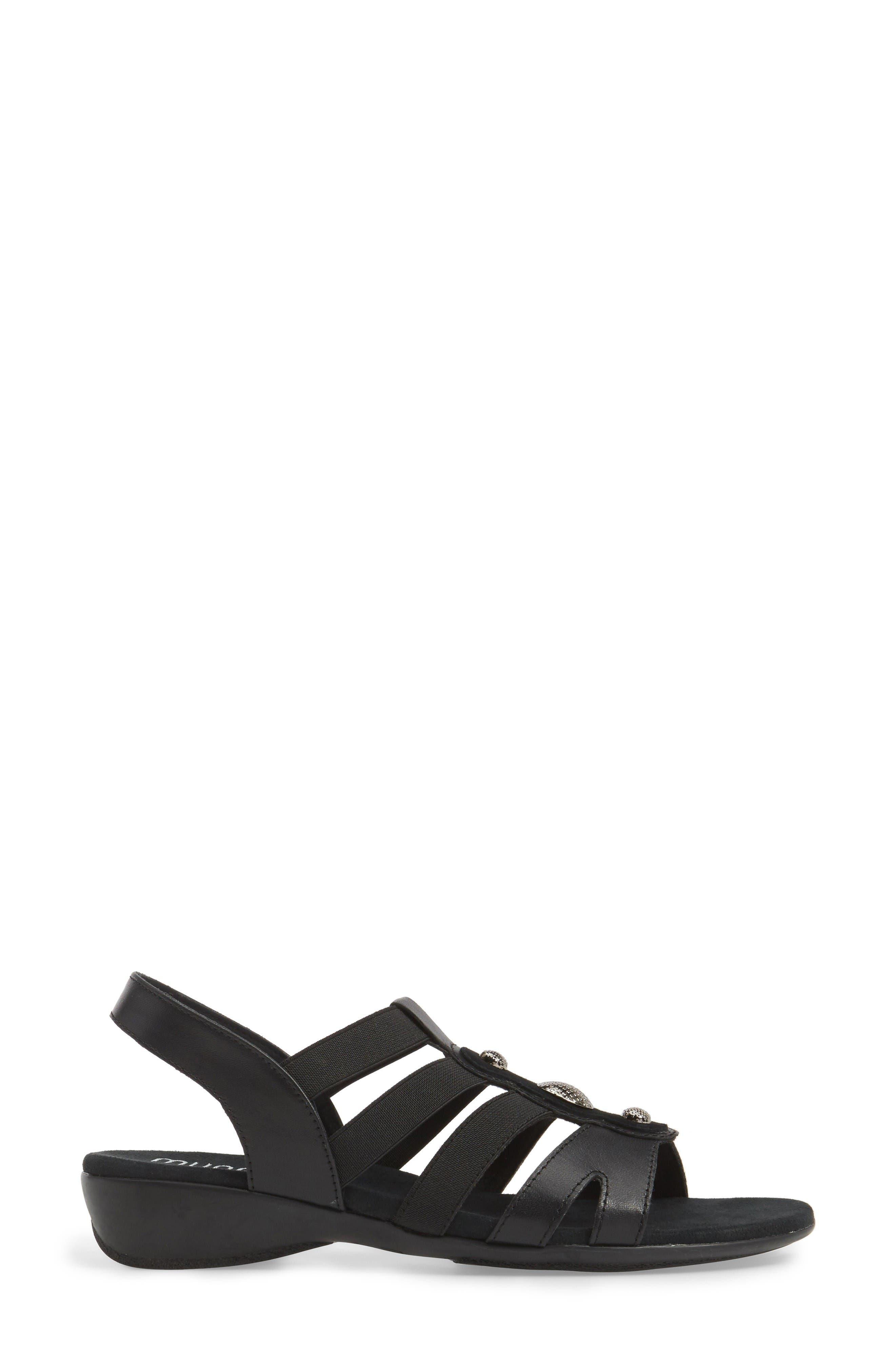 Destiny Sandal,                             Alternate thumbnail 3, color,                             Black Leather