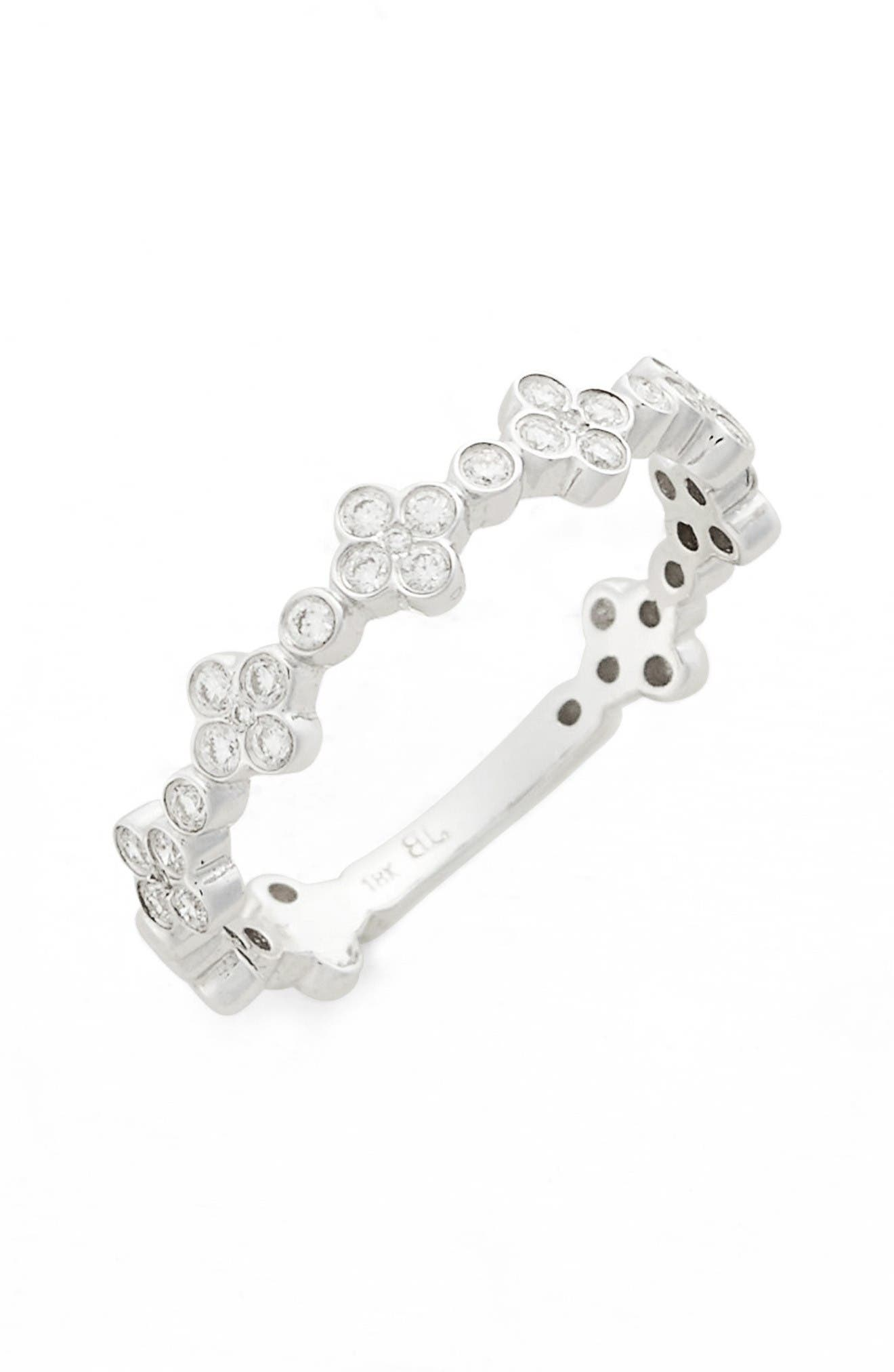 Stackable Diamond Clover Ring,                         Main,                         color, White Gold