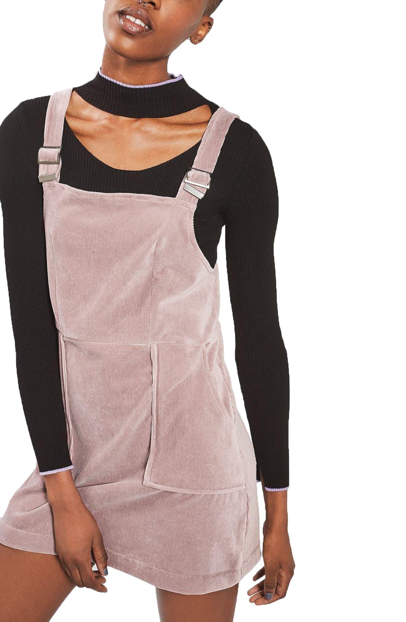 Main Image - Topshop Velvet Corduroy Pinafore Dress (Petite)