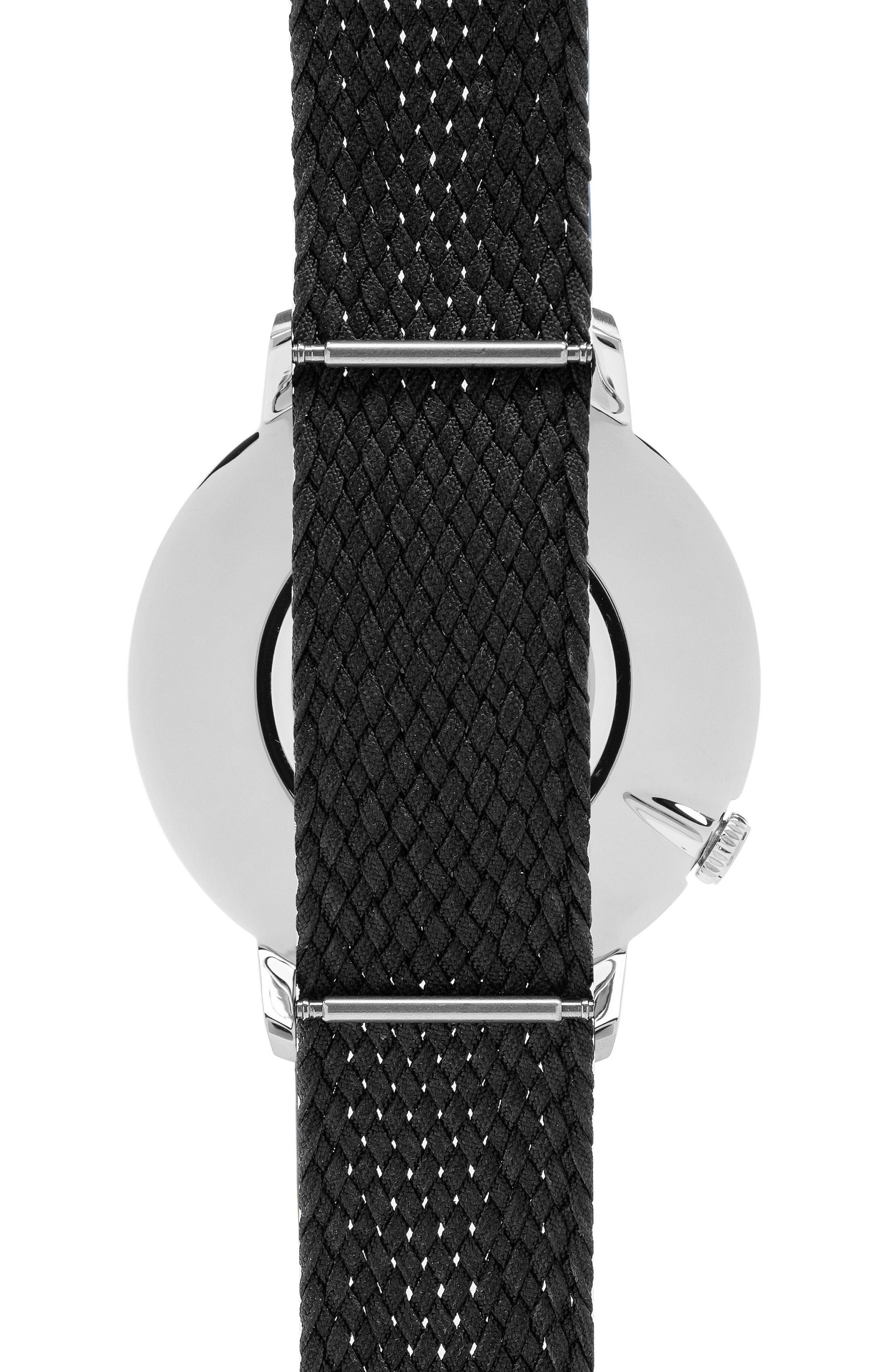 Woven Perlon Strap Watch,                             Alternate thumbnail 2, color,                             Cream/ Black