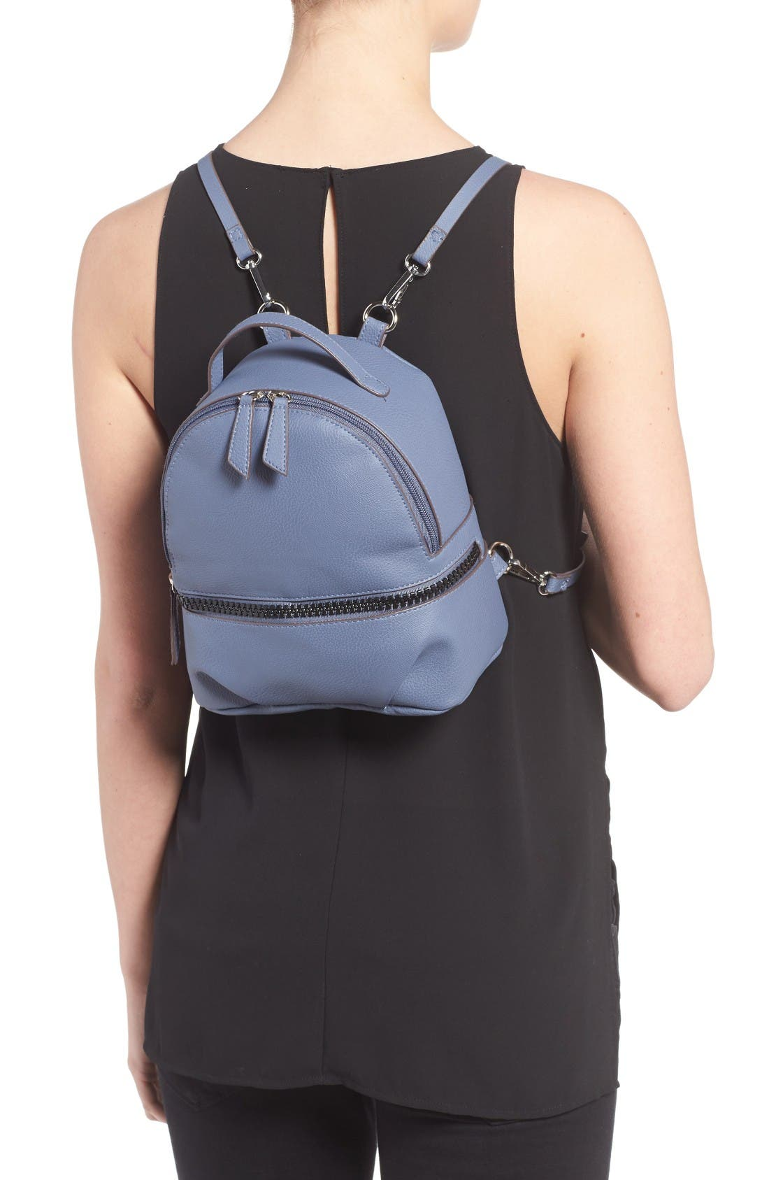 Textured Faux Leather Mini Backpack,                             Alternate thumbnail 2, color,                             Blue