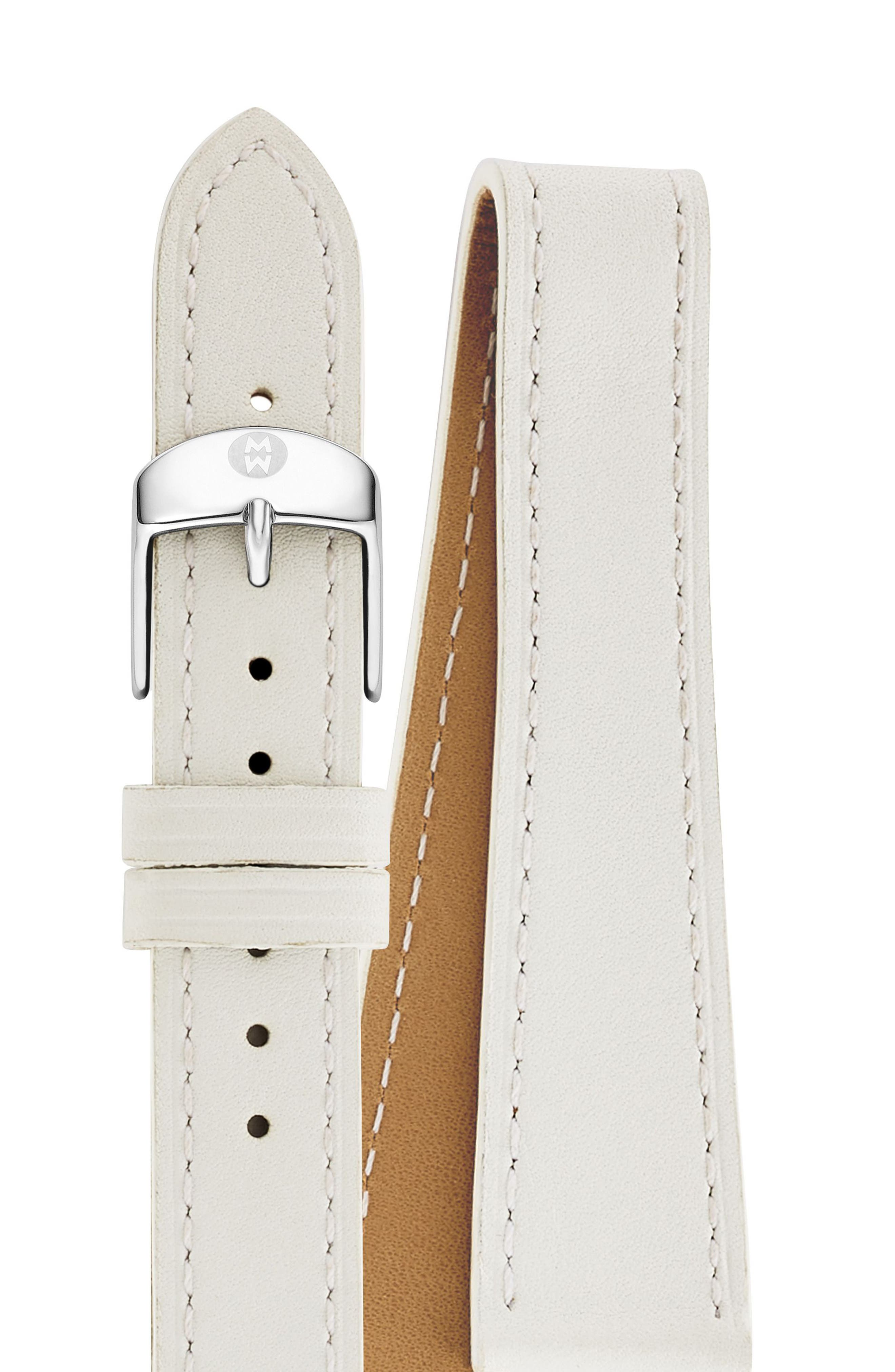 Main Image - MICHELE 16mm Leather Double Wrap Watch Strap