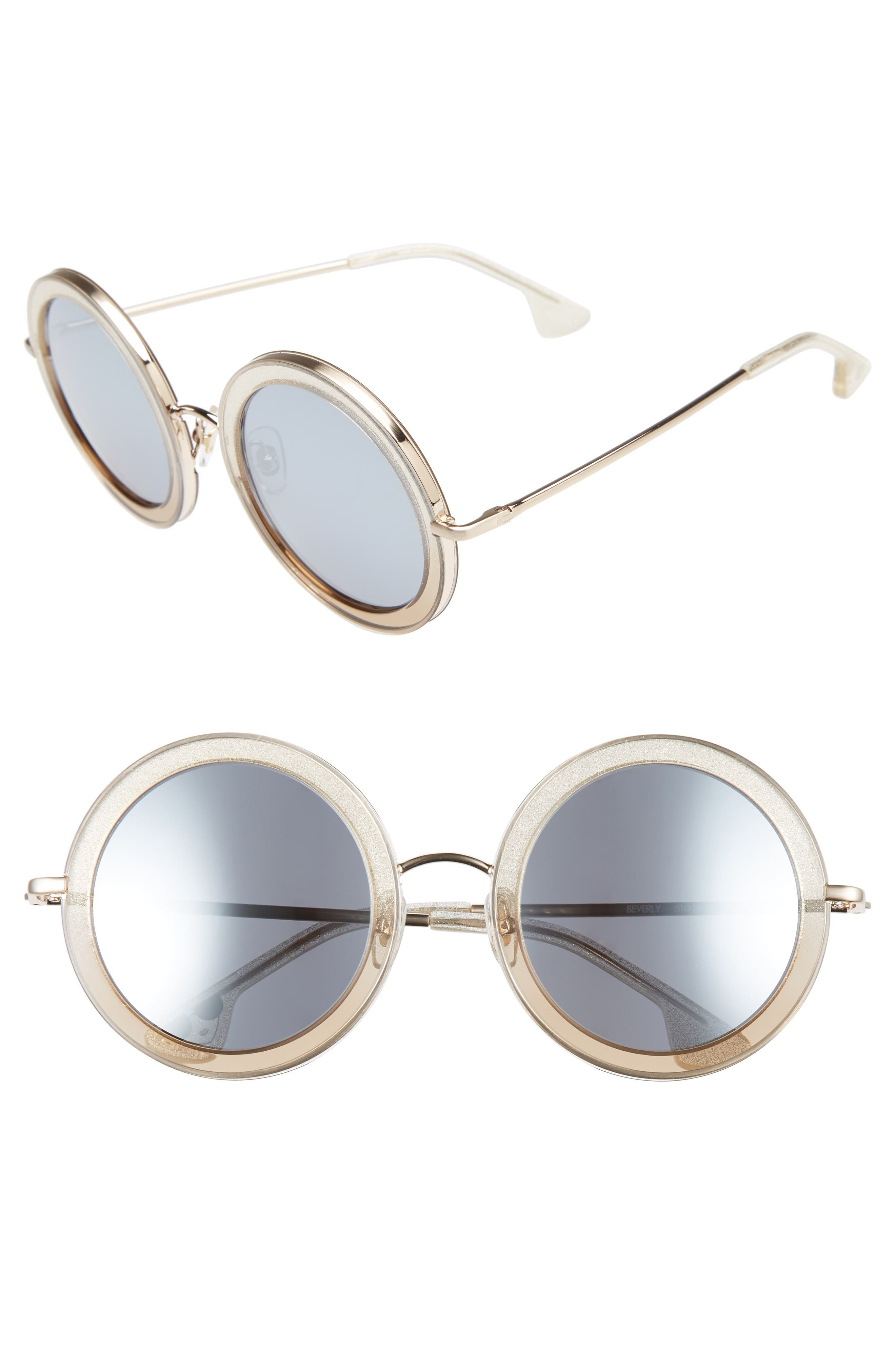 Main Image - Alice + Olivia Beverly 51mm Special Fit Round Sunglasses