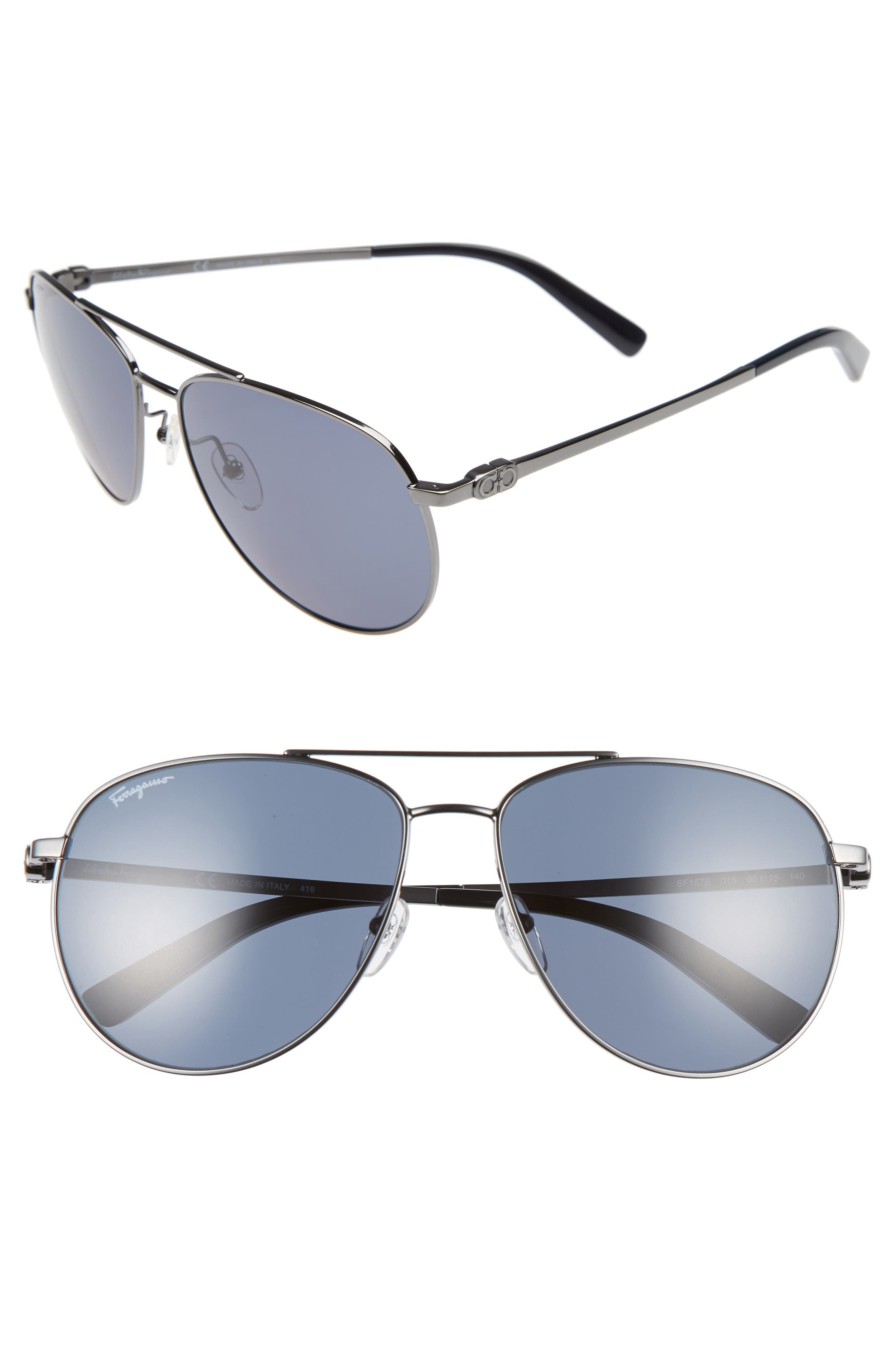 Gancio 60mm Aviator Sunglasses,                         Main,                         color, Dark Gunmetal